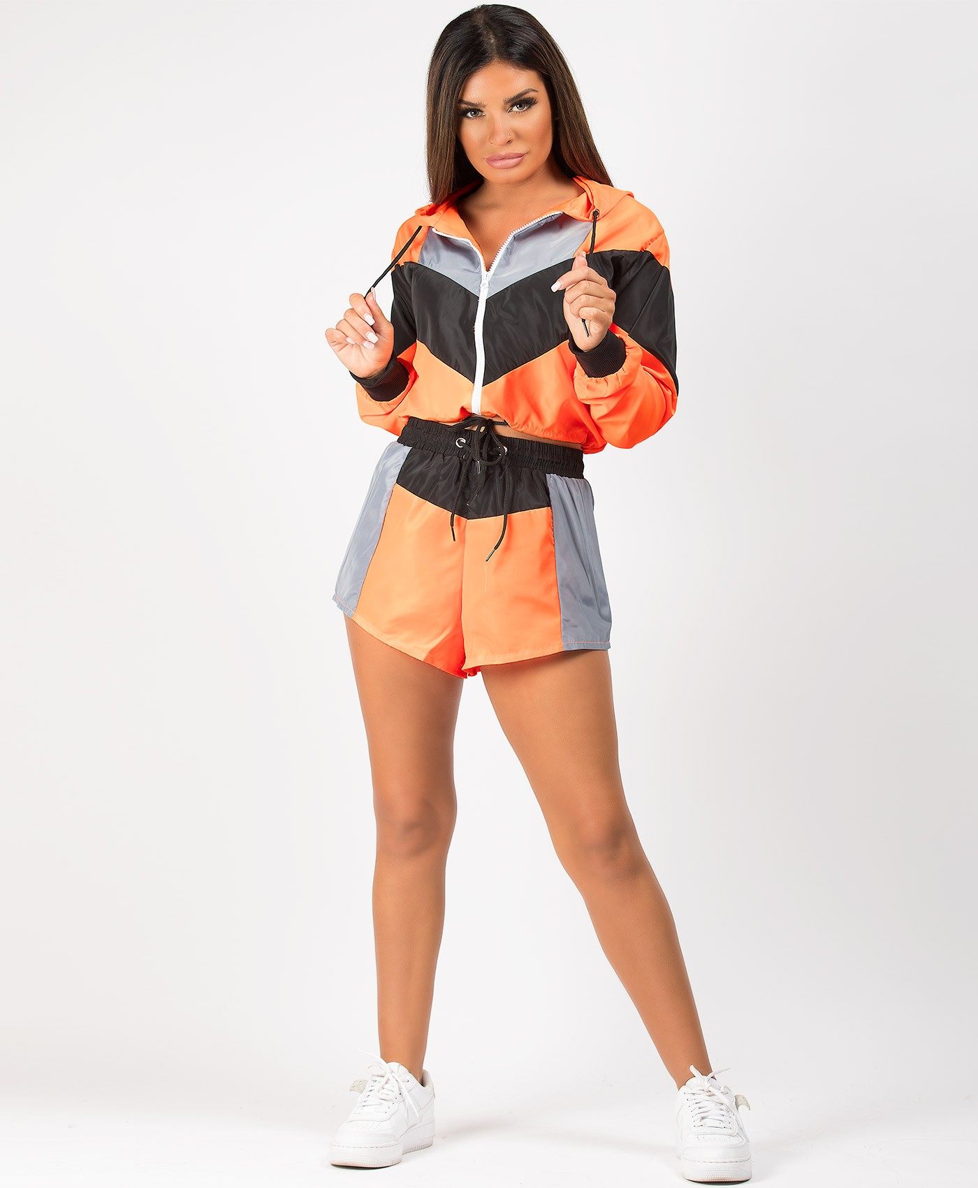 Neon-Orange-Colour-Block-Jacket-&-Shorts-Co-Ord-Set-1
