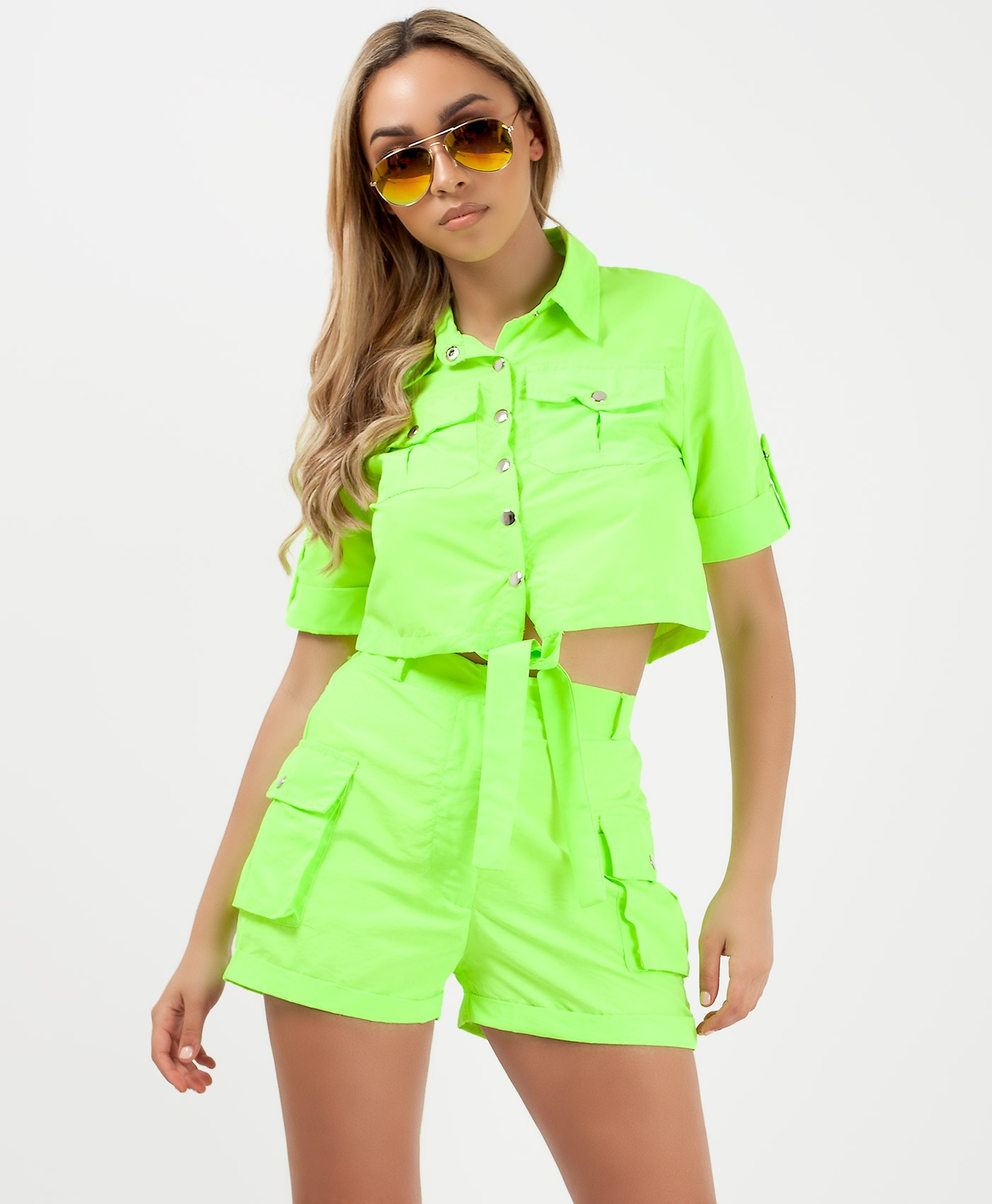 Neon Green Utility Pocket Cargo Safari Co Ord Set