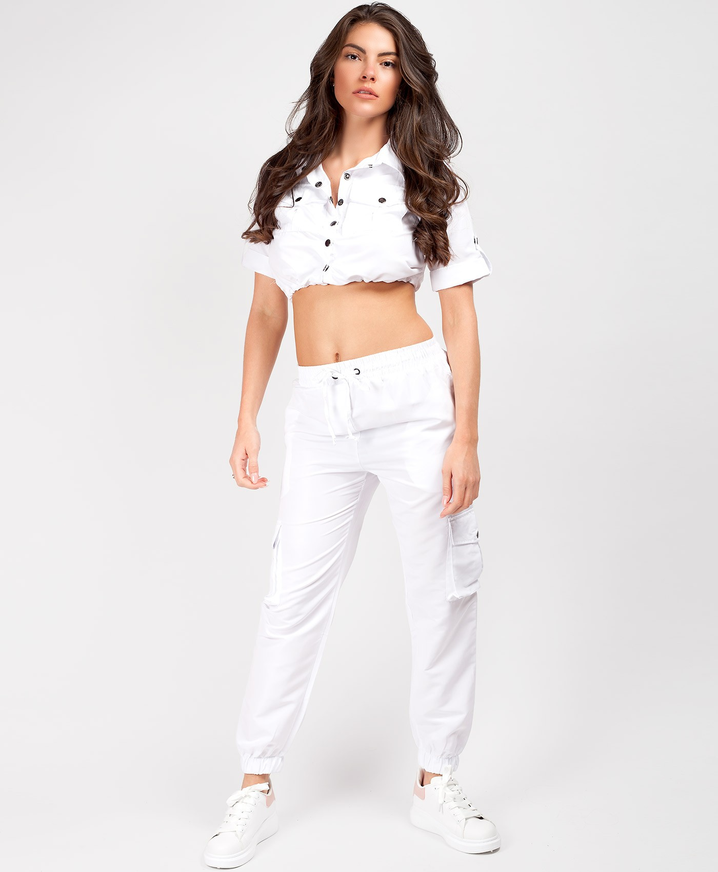 White-Utility-Crop-Top-Cargo-Pants-Co-Ord-Set-1