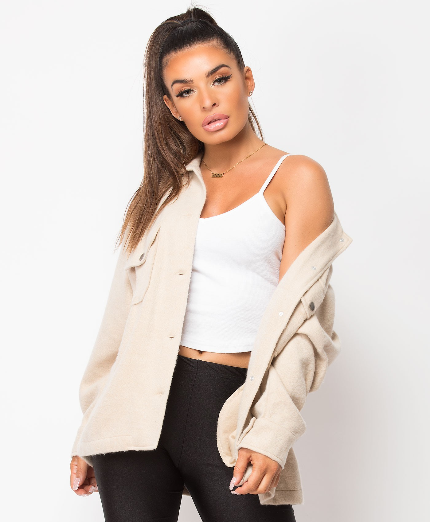 Sand Fleece Oversized Plain Shirt Shacket