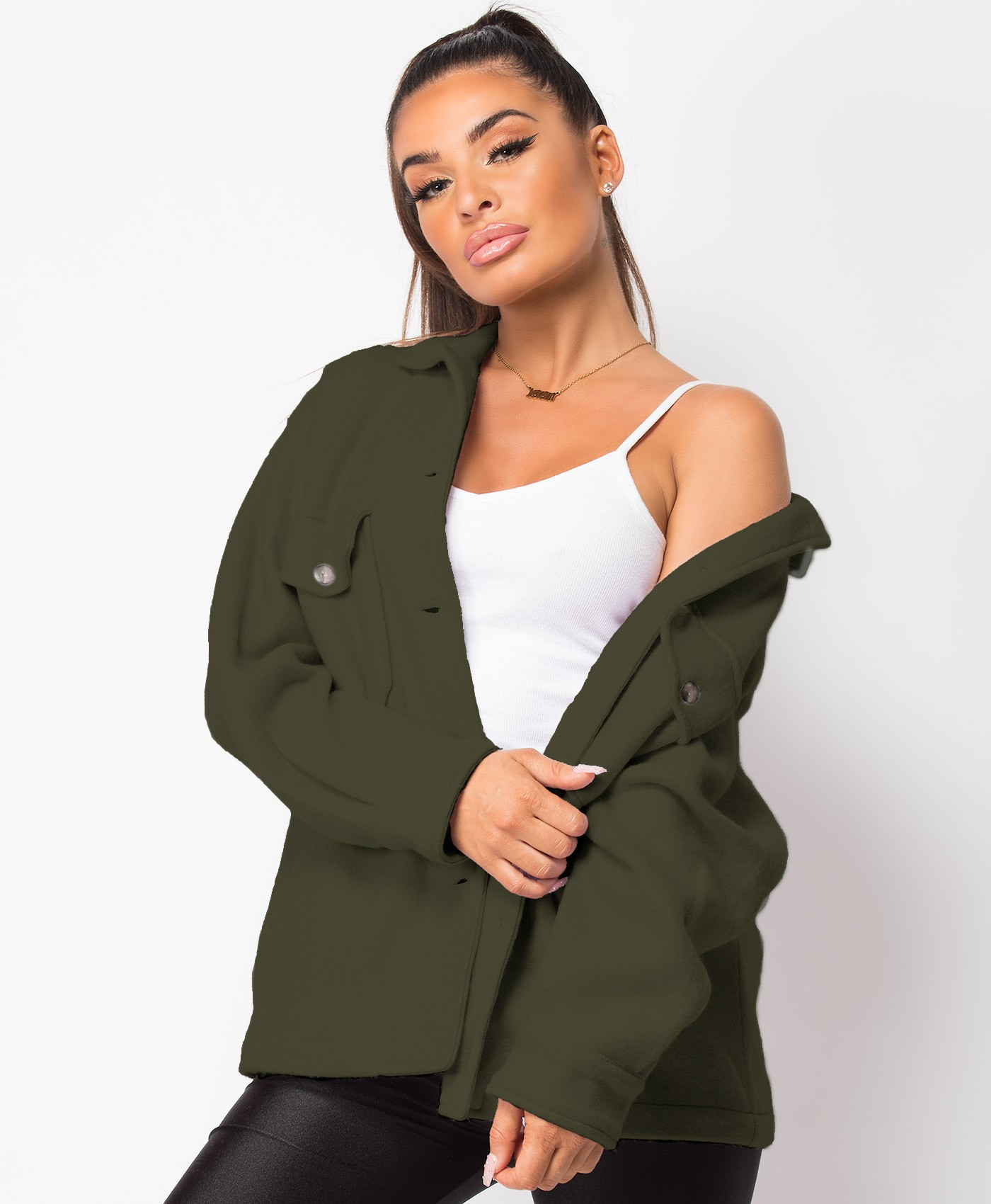 Khaki Fleece Oversized Plain Shirt Shacket
