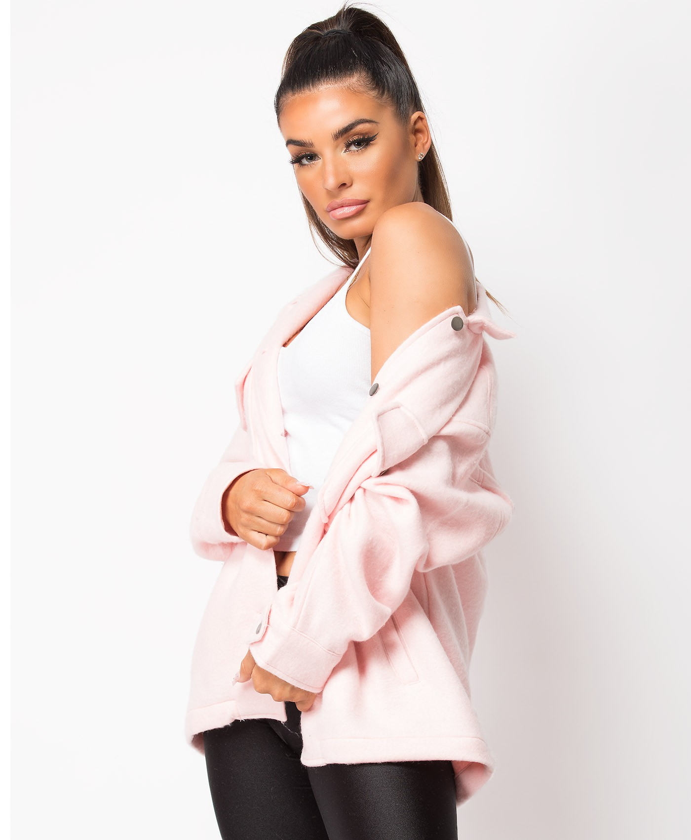 Pink Fleece Oversized Plain Shirt Shacket