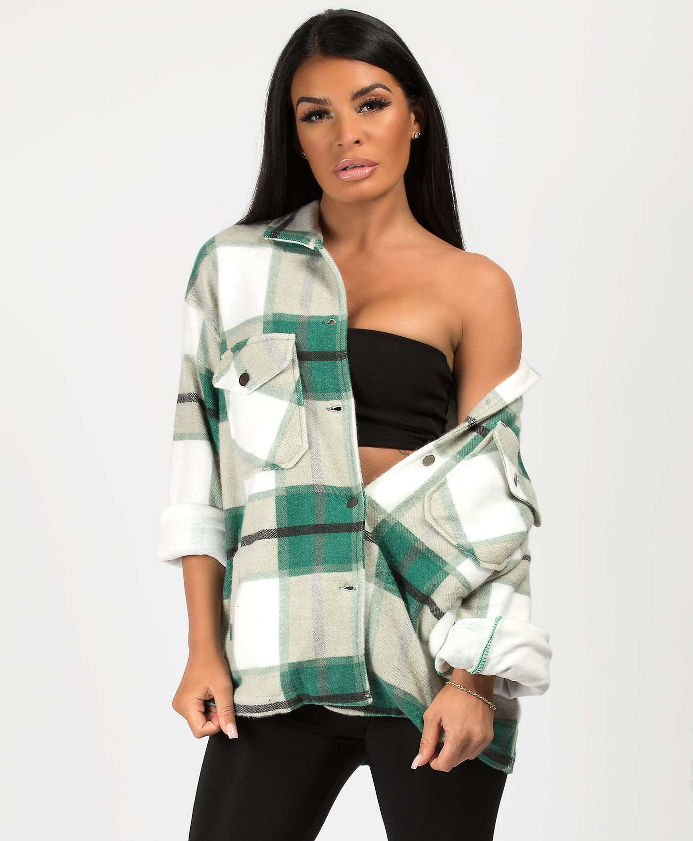 Green Fleece Oversized Check Shirt Shacket