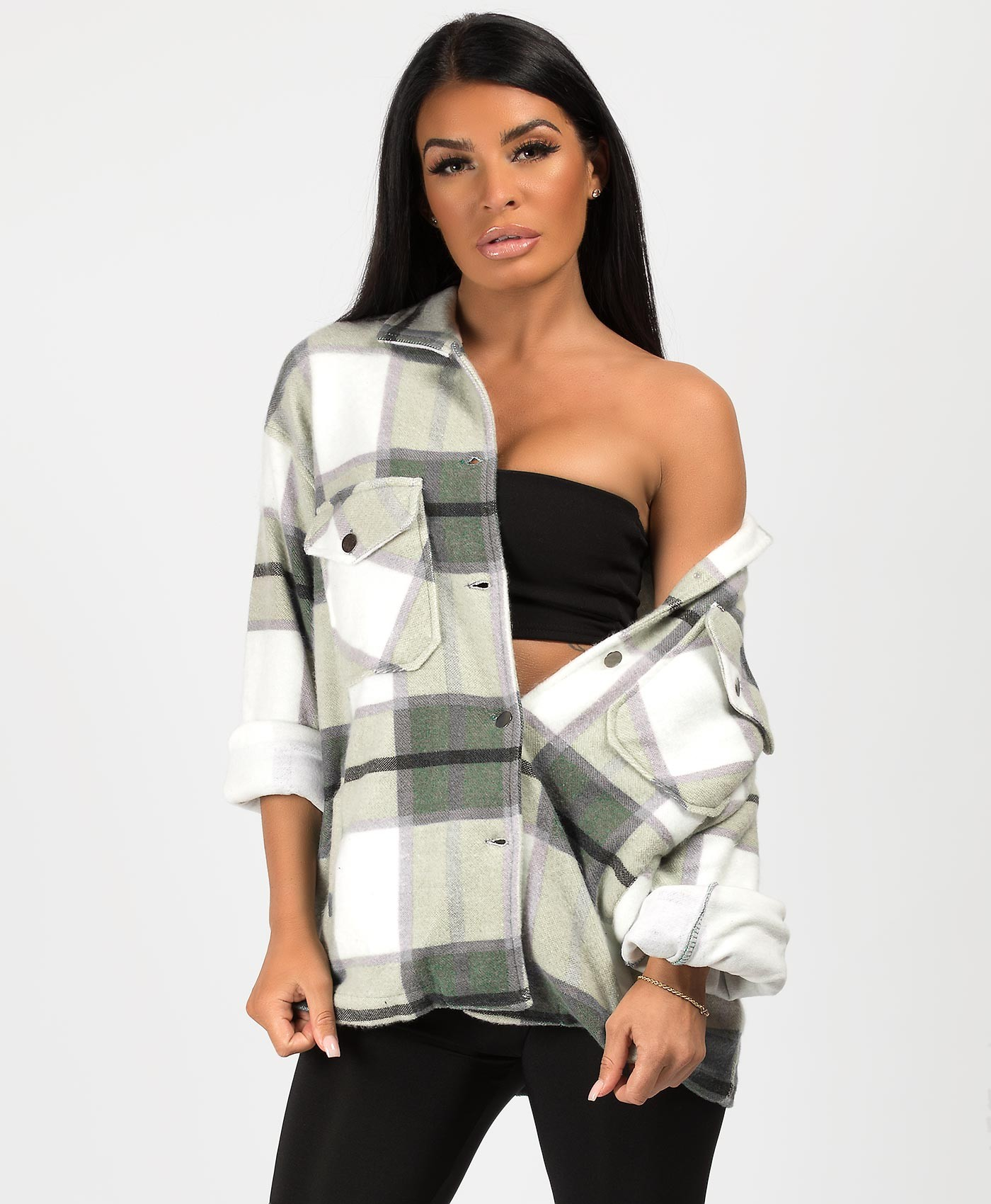 Khaki Fleece Oversized Check Shirt Shacket