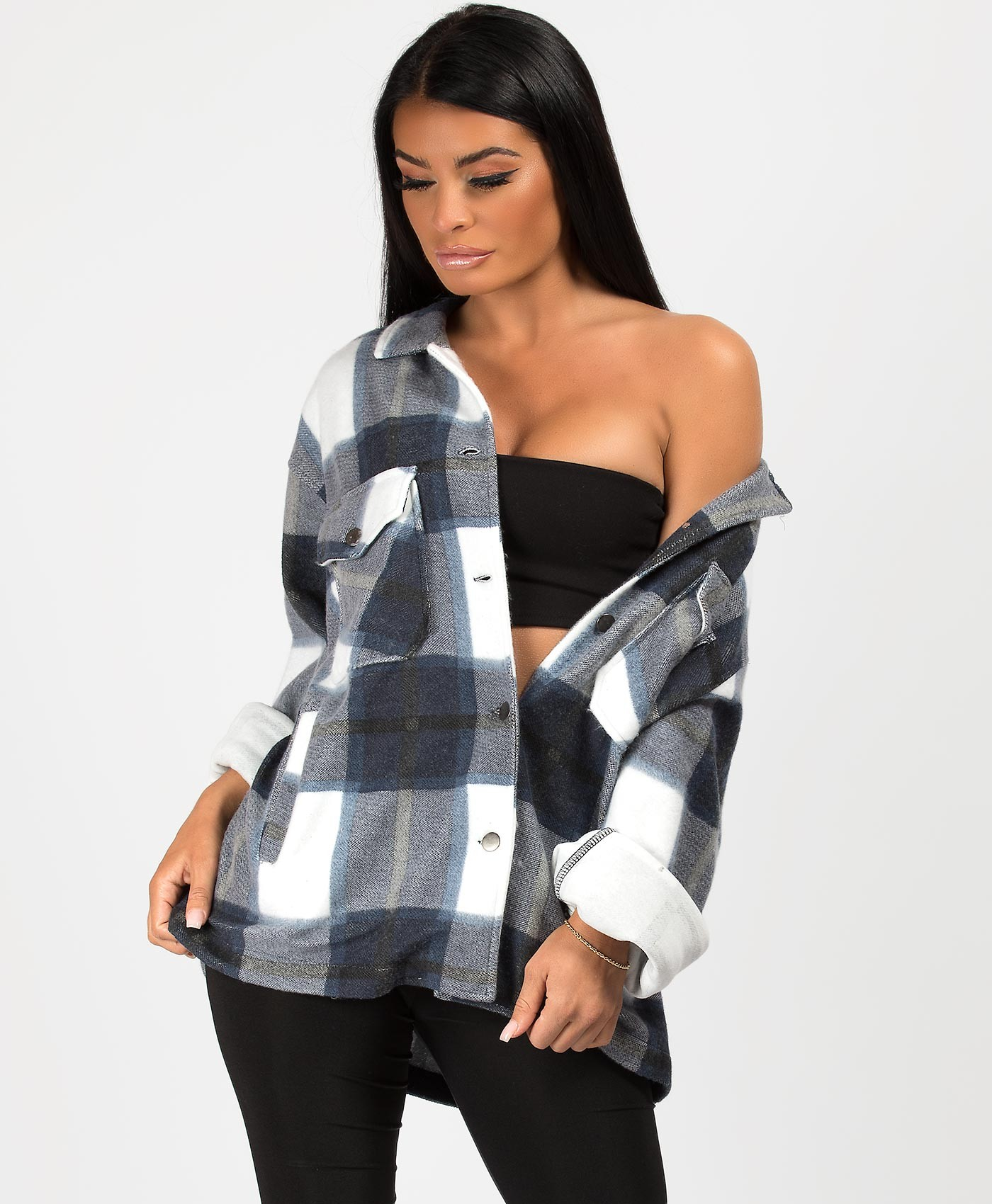 Navy Fleece Oversized Check Shirt Shacket