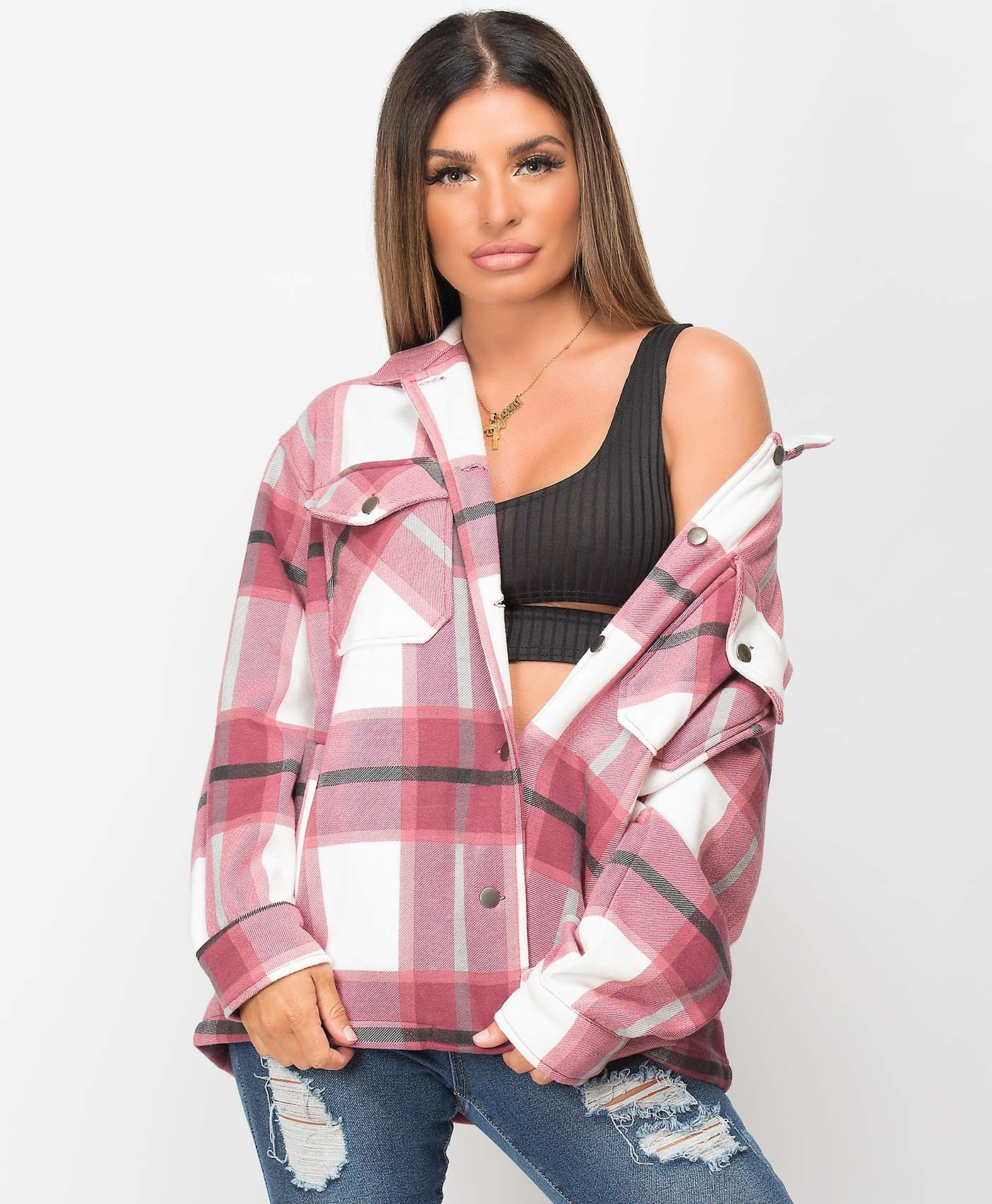 Wine Fleece Oversized Check Shirt Shacket