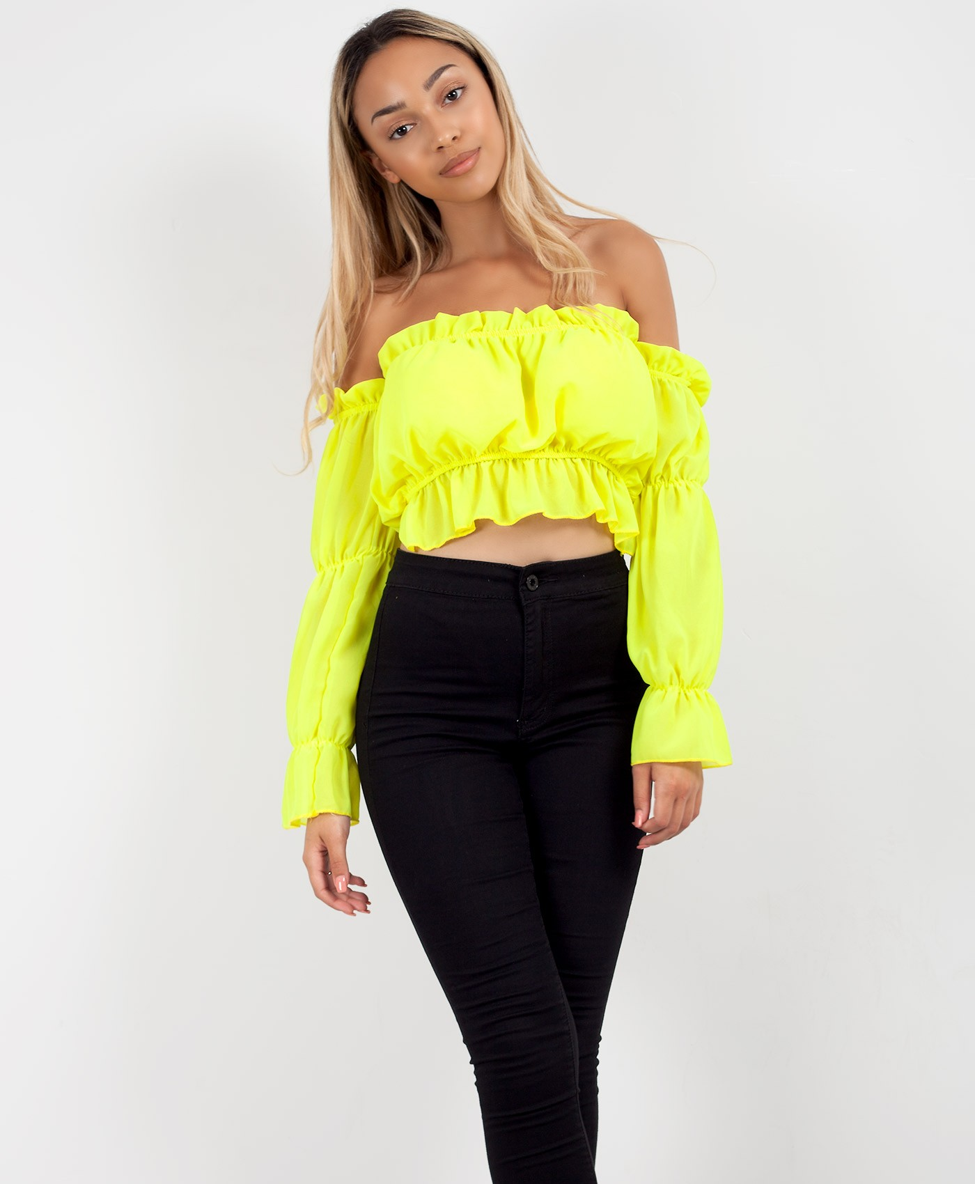 Neon-Green-Bardot-Off-The-Shoulder-Long-Sleeve-Crop-Top-1