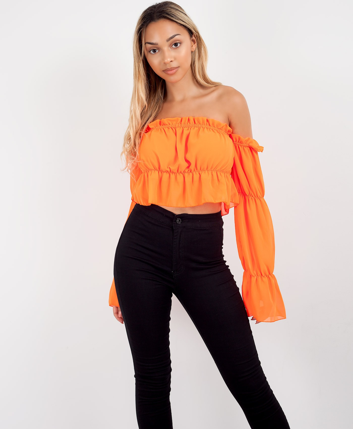 Neon Orange Bardot Ruffle Frill Ruched Crop Top