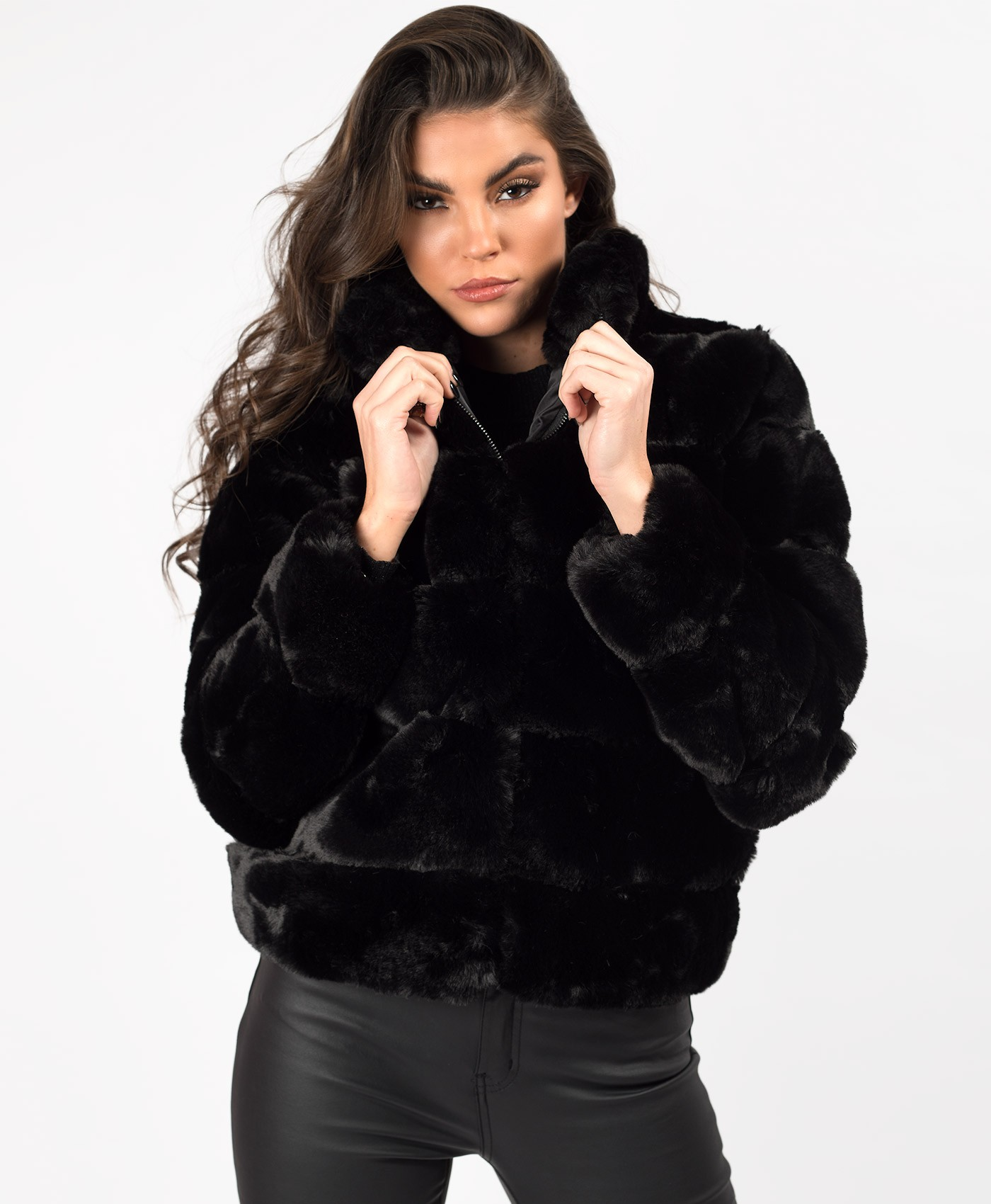 Black High Neck Faux Fur Tiered Panel Jacket