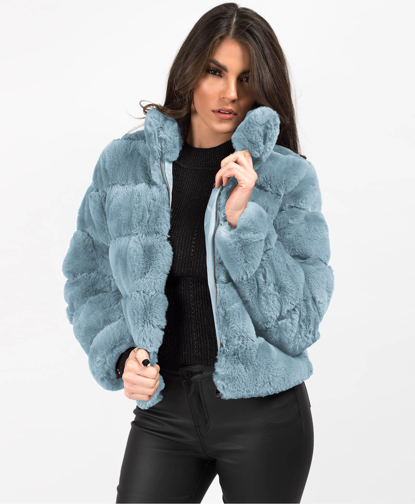 Blue High Neck Faux Fur Tiered Panel Jacket