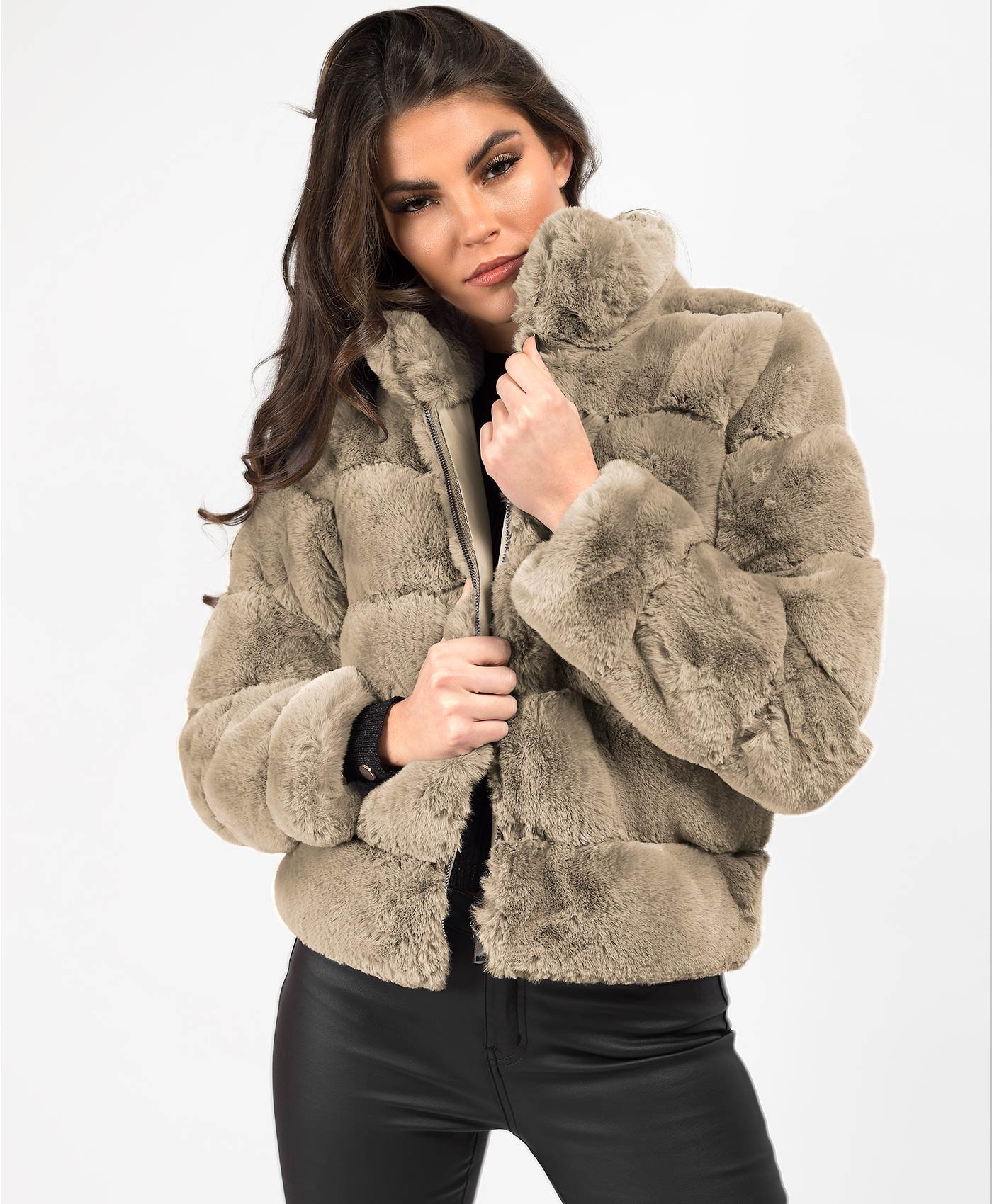 Mocha High Neck Faux Fur Tiered Panel Jacket