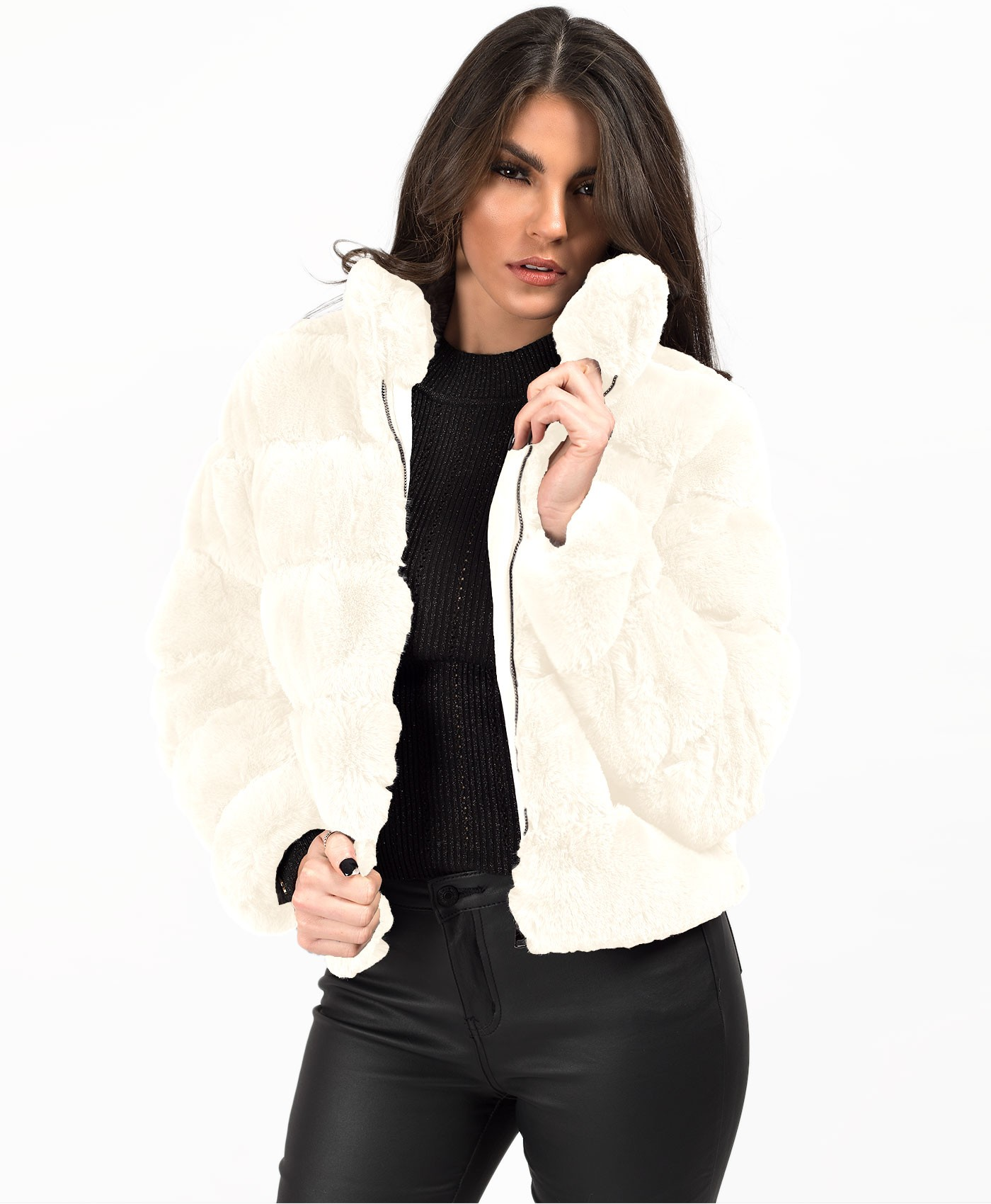 White High Neck Faux Fur Tiered Panel Jacket