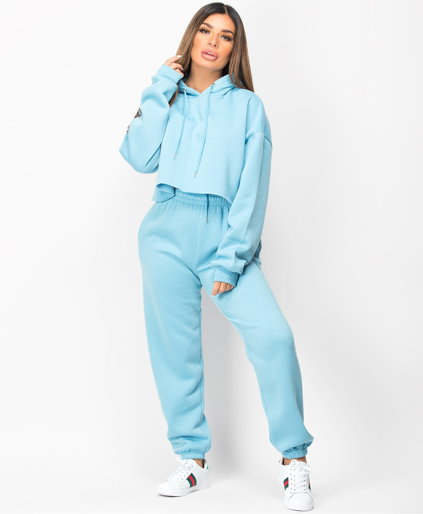 Blue Oversized Cropped Hoodie & Joggers Loungewear Set