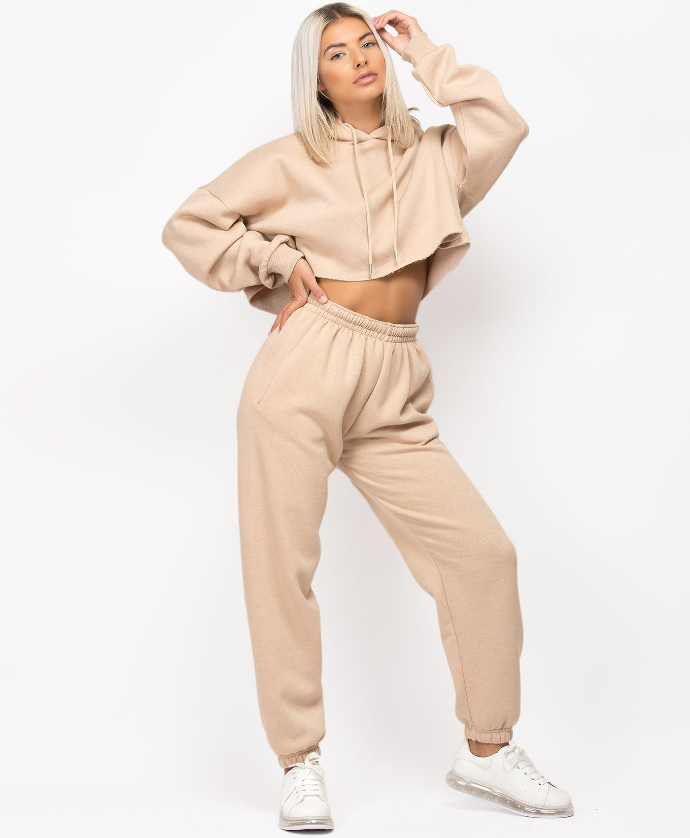 Sand Oversized Cropped Hoodie & Joggers Loungewear Set