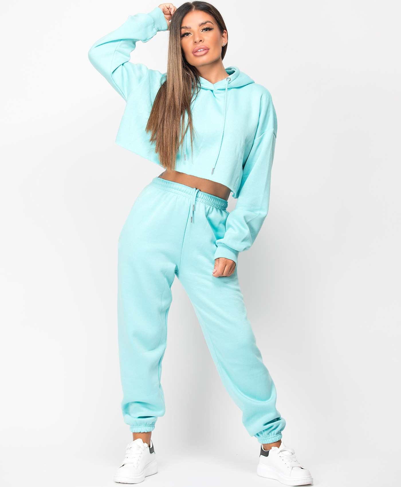 Turquoise Oversized Cropped Hoodie & Joggers Loungewear Set