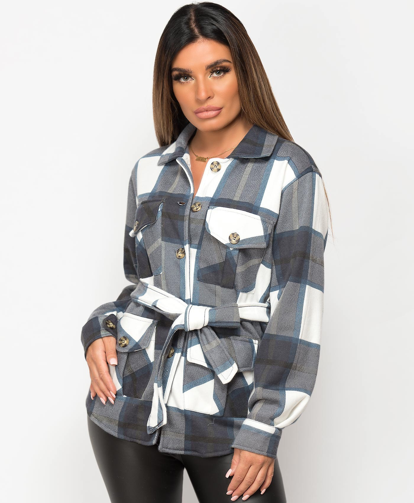 Navy-Check-Oversize-Fit-Belted-Shacket-1