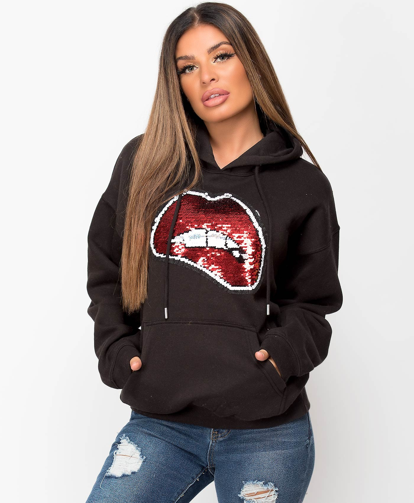 Black-Oversized-Fit-Lips-Sequin-Hoodie-1