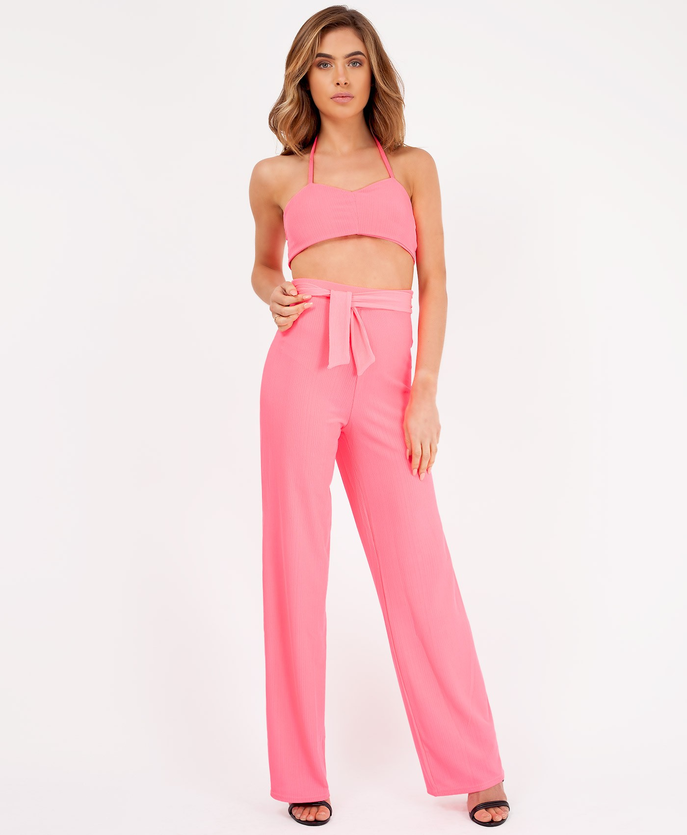 Neon Pink Ribbed Crop Top & Flared Trouser Co Ord