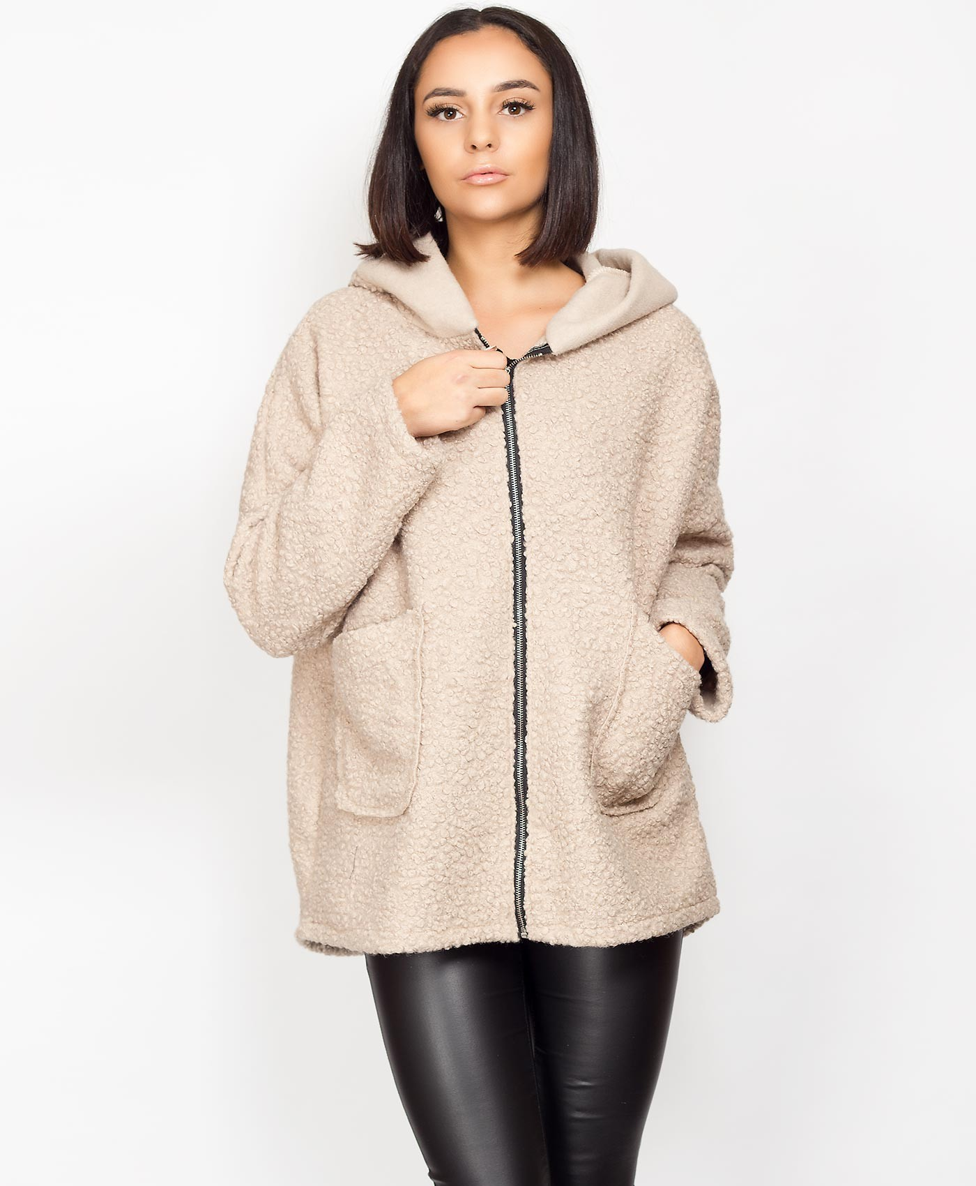 Hooded Teddy Bear Fur Oversize Coat