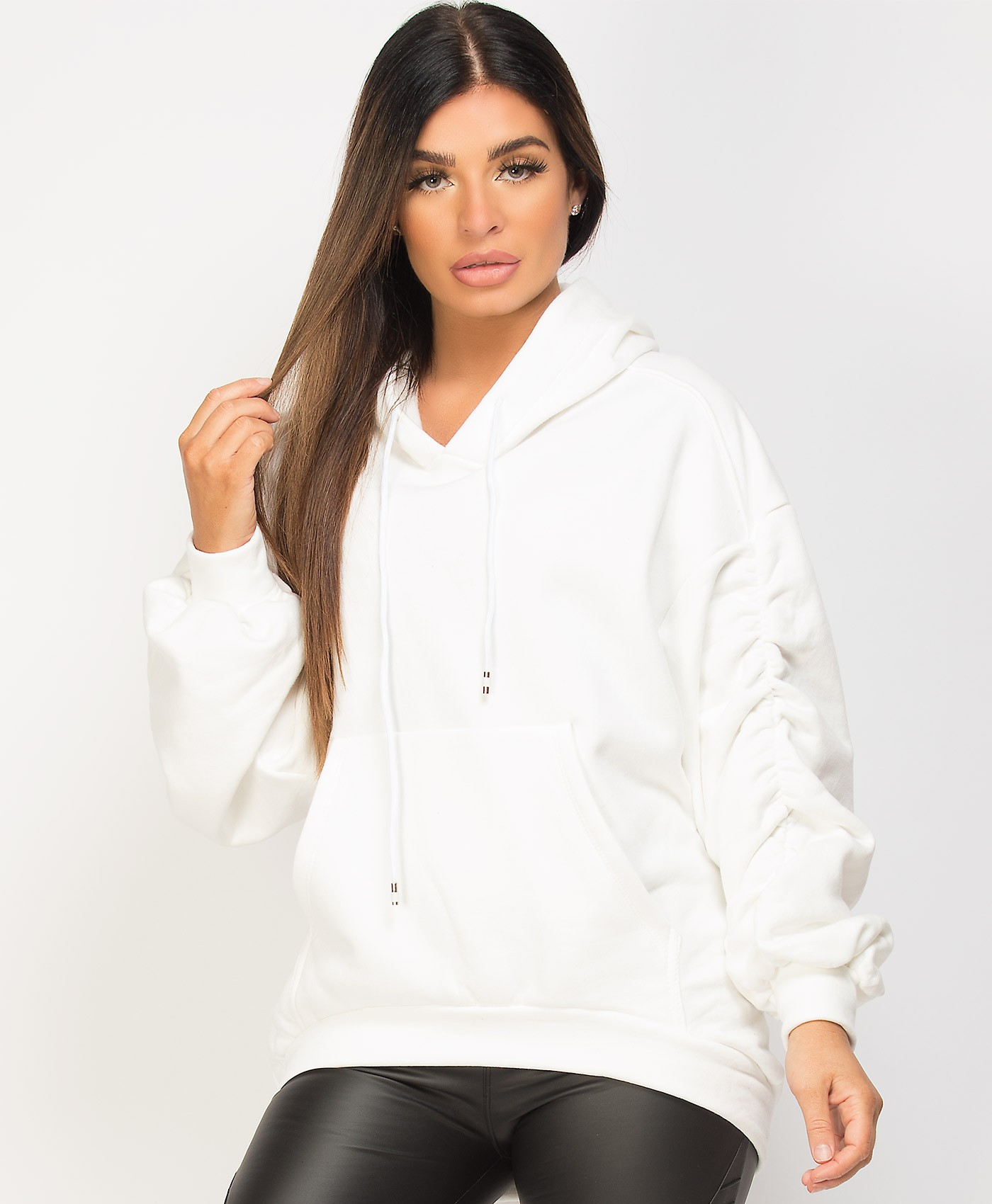 White-Ruched-Sleeve-Oversize-Fit-Hi-Lo-Hem-Hoodie-1a