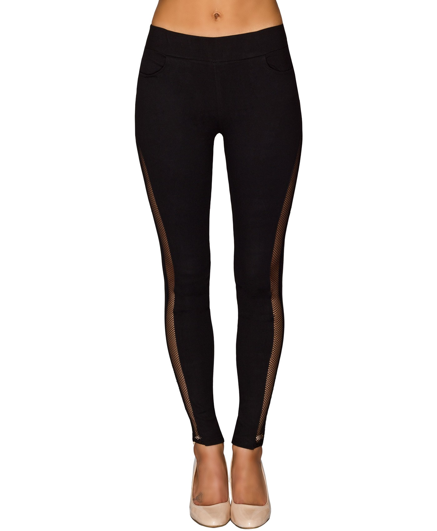 Black Mesh Side Skinny Jeggings