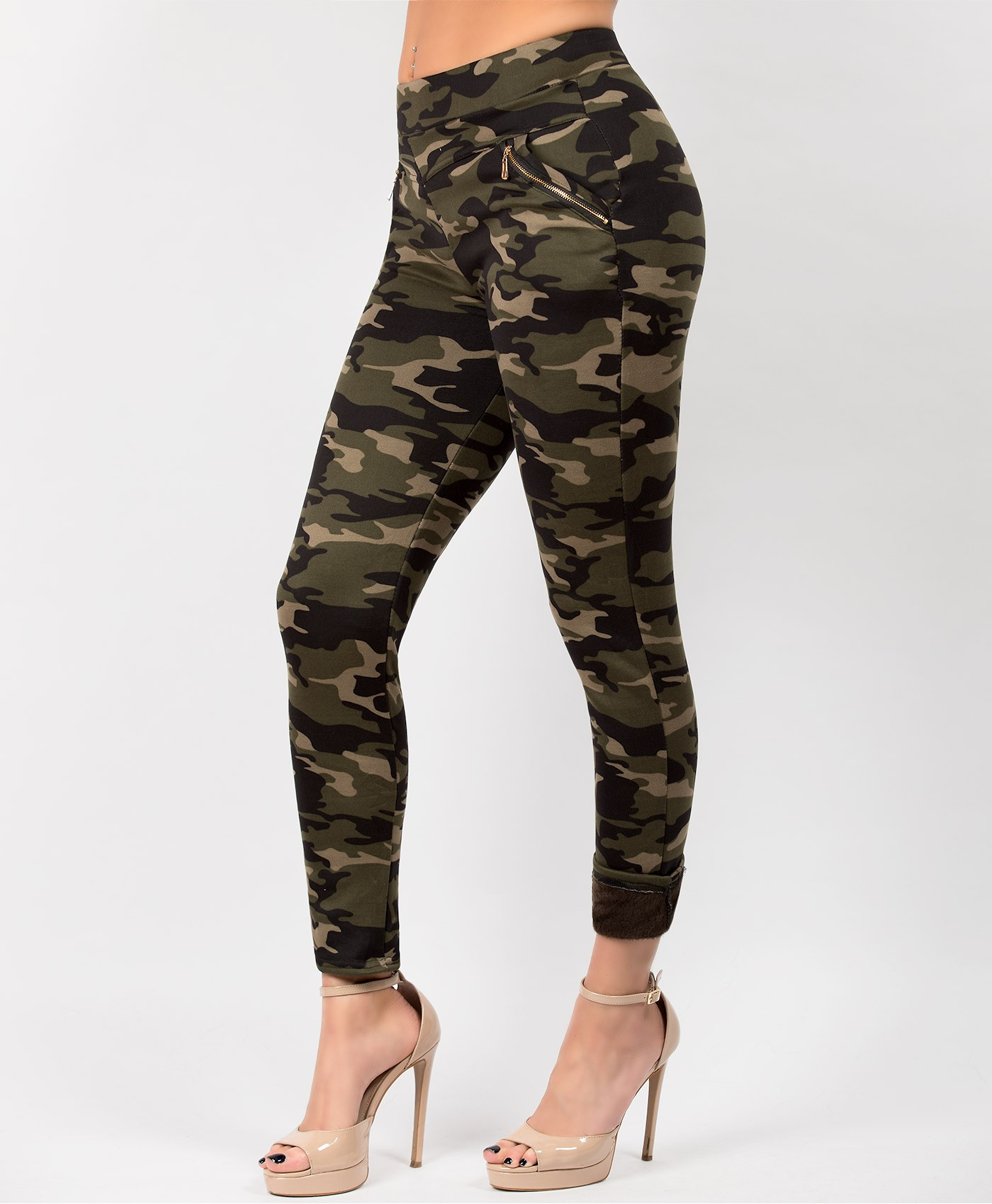 Khaki-Fur-Lined-Gold-Zip--Camouflage-Leggings-3