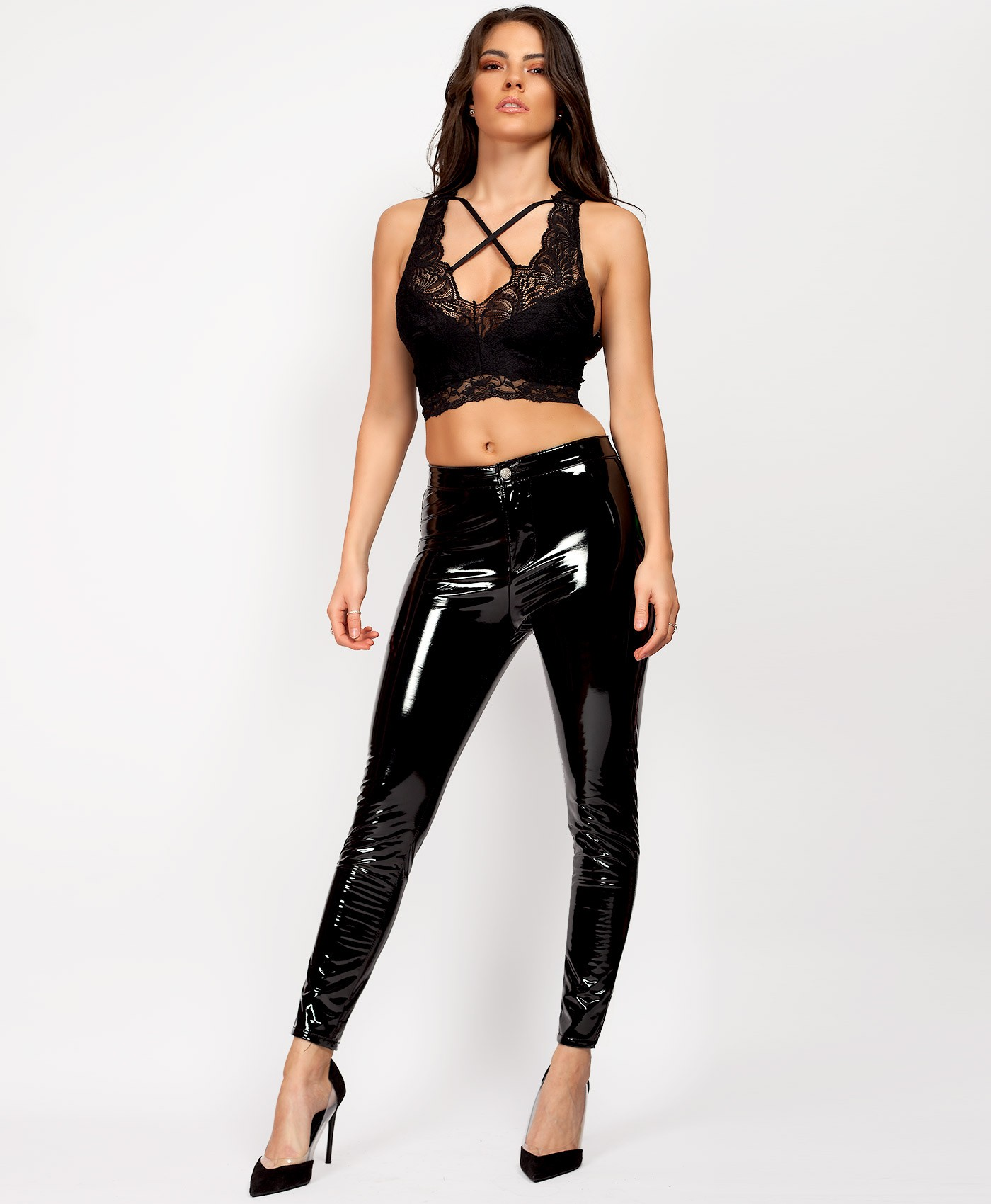 Black High Shine Wet Look Vinyl Trousers