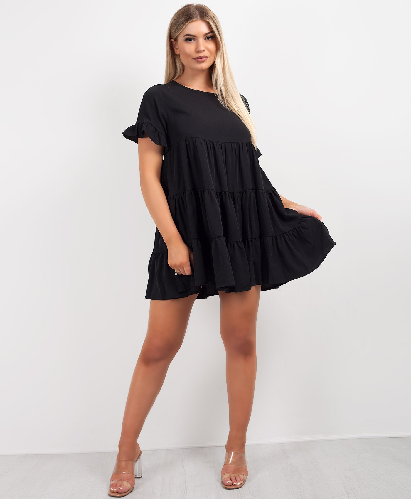 Black Tiered Panel Oversize Skater Dress