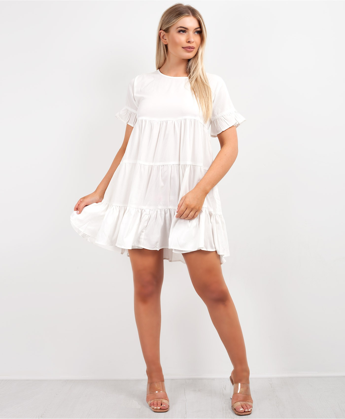 White Tiered Panel Oversize Skater Dress