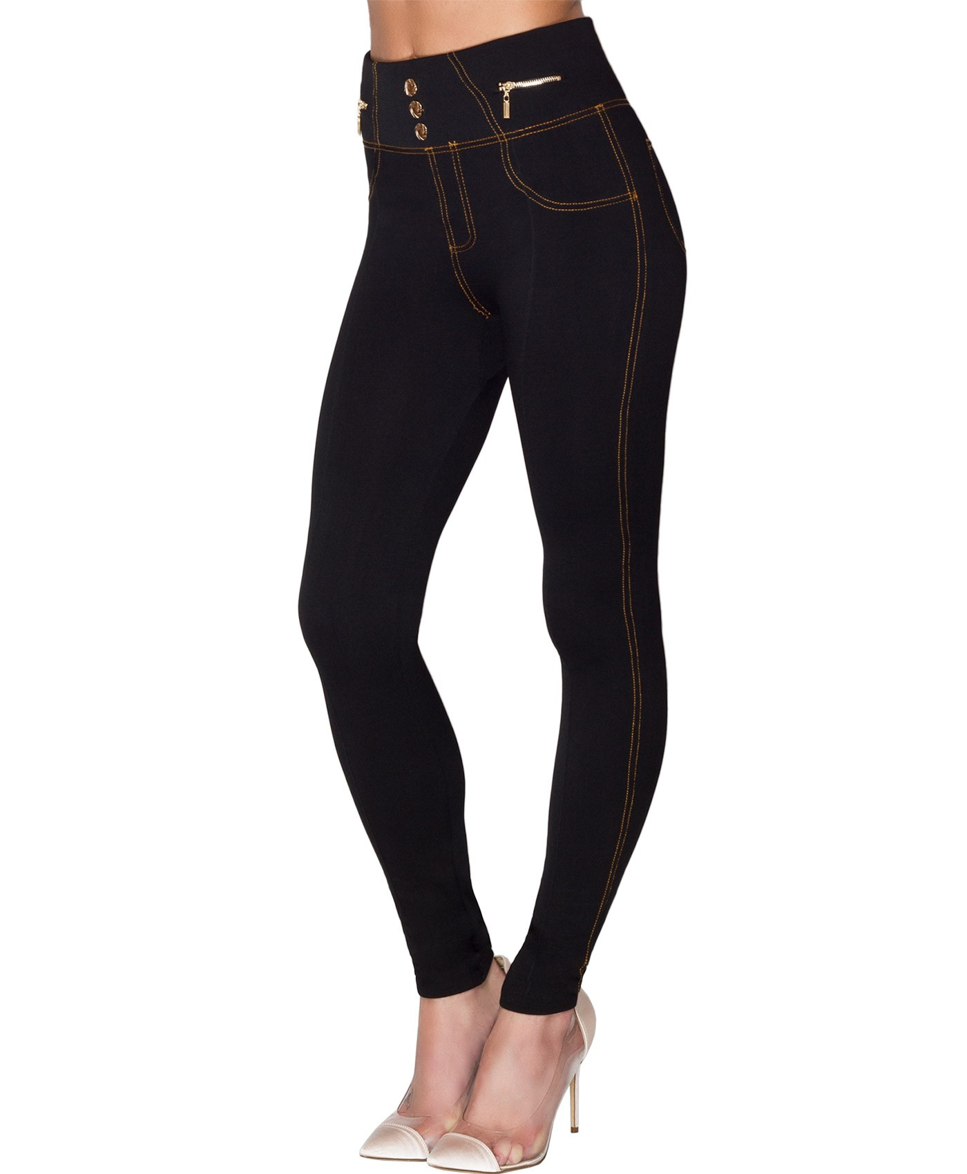 Black Gold Button Zip Fleece Lined Jeggings