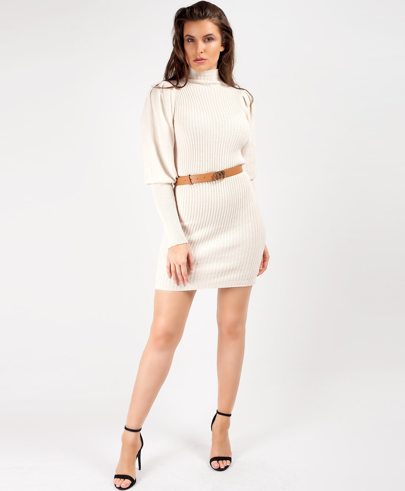 Beige Puffed Sleeve High Neck Jumper Dress
