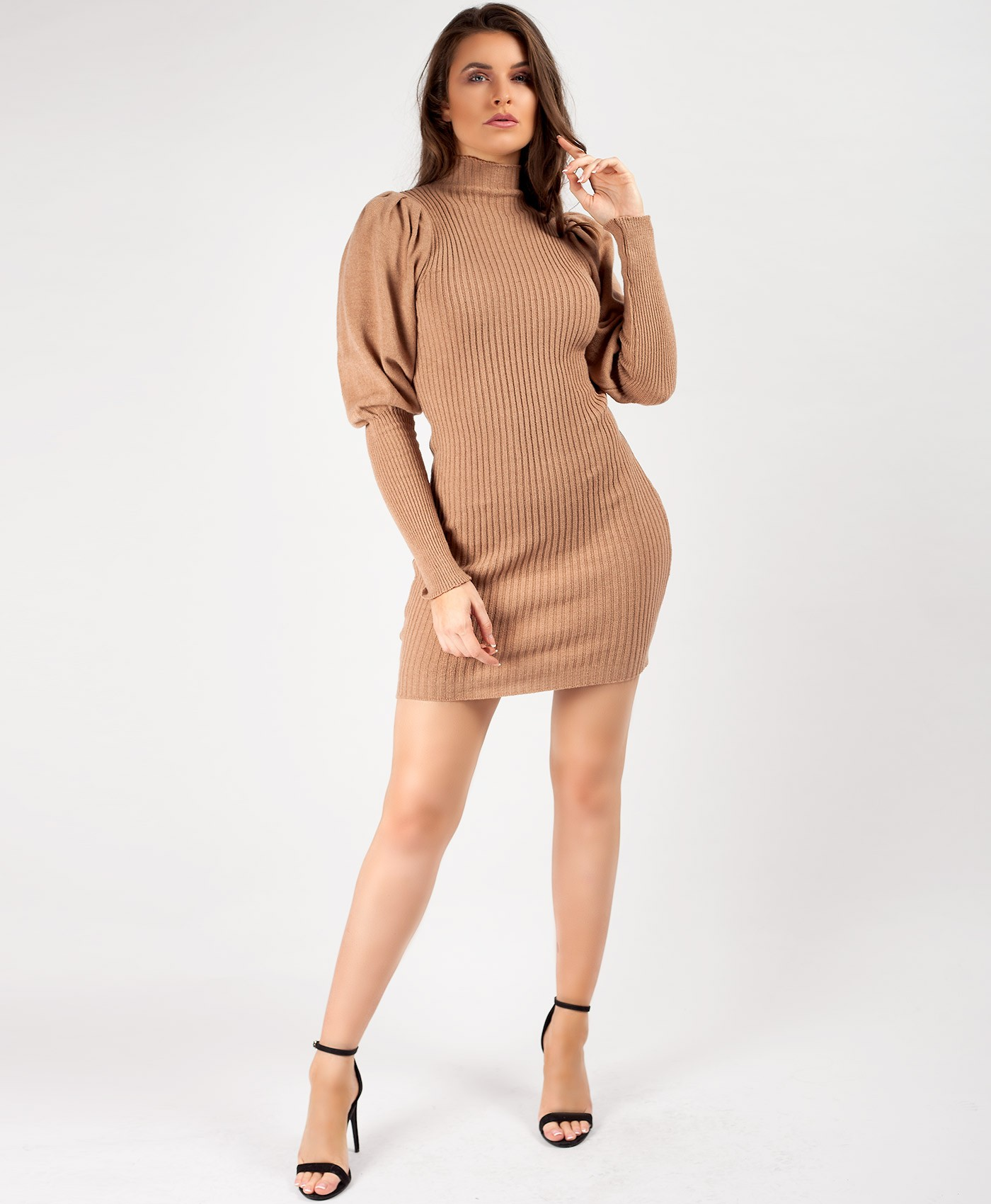 Camel-Puff-Sleeve-High-Neck-Jumper-Dress-1