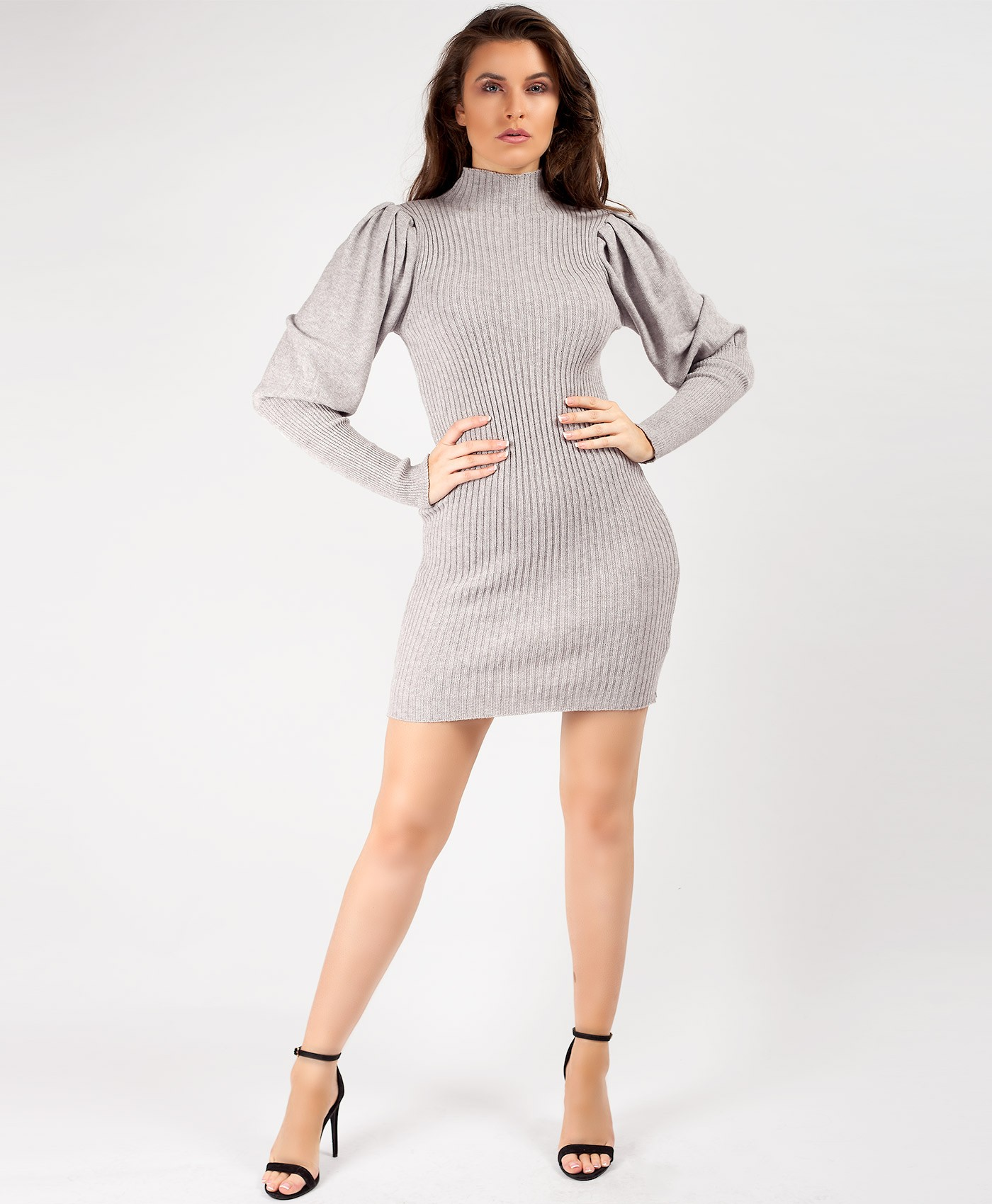 Grey Puffed Sleeve High Neck Jumper Dress