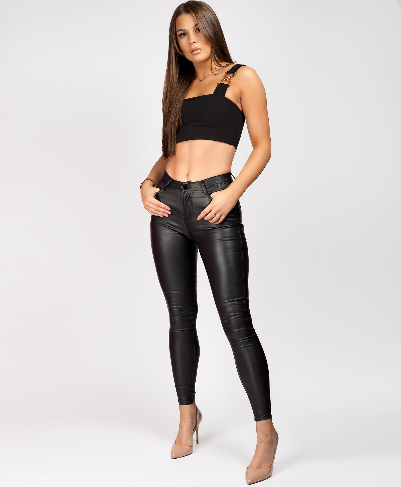 Black-Wet-Look-PU-PVC-Coated-Jeans-2