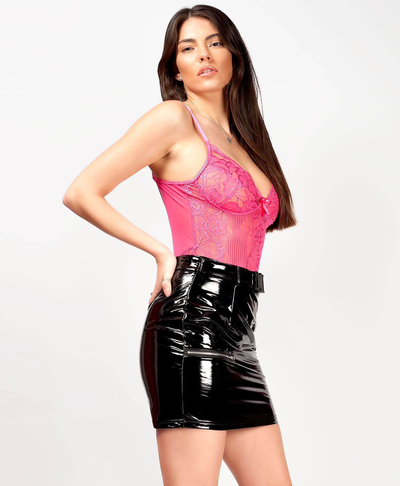 Black PU High Shine Vinyl Utility Mini Skirt