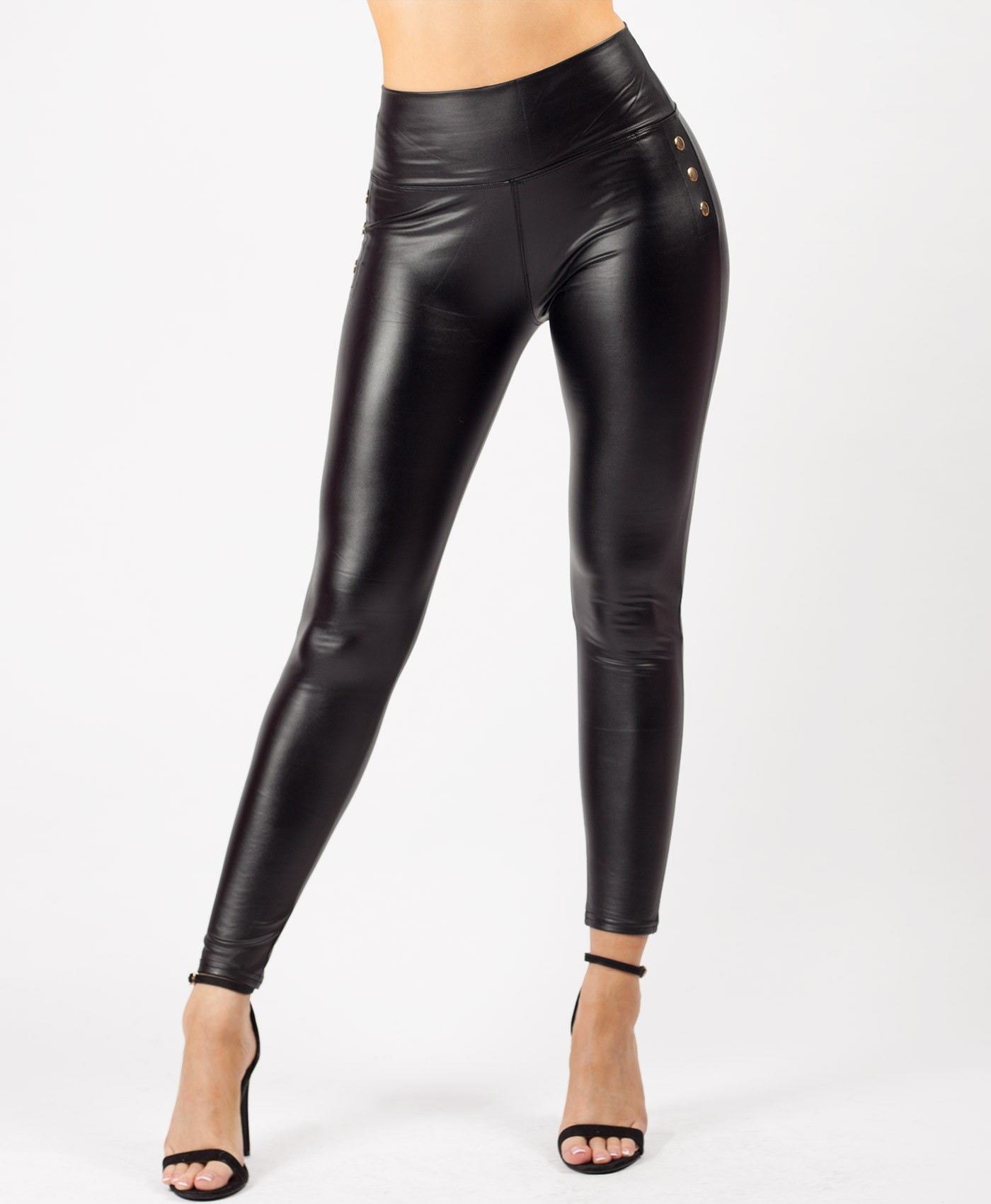 Black Wet Look PU Studded Faux Leather Leggings