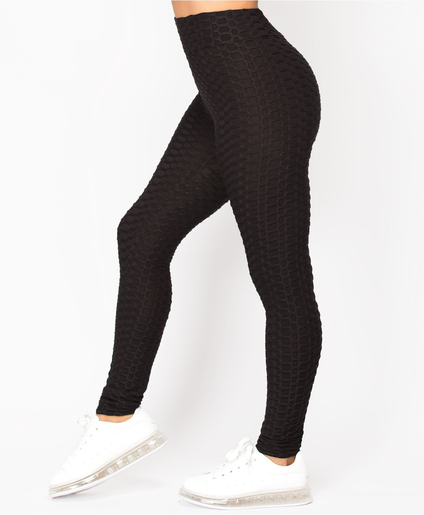 Waffle Textured Active Wear Stretch Leggings