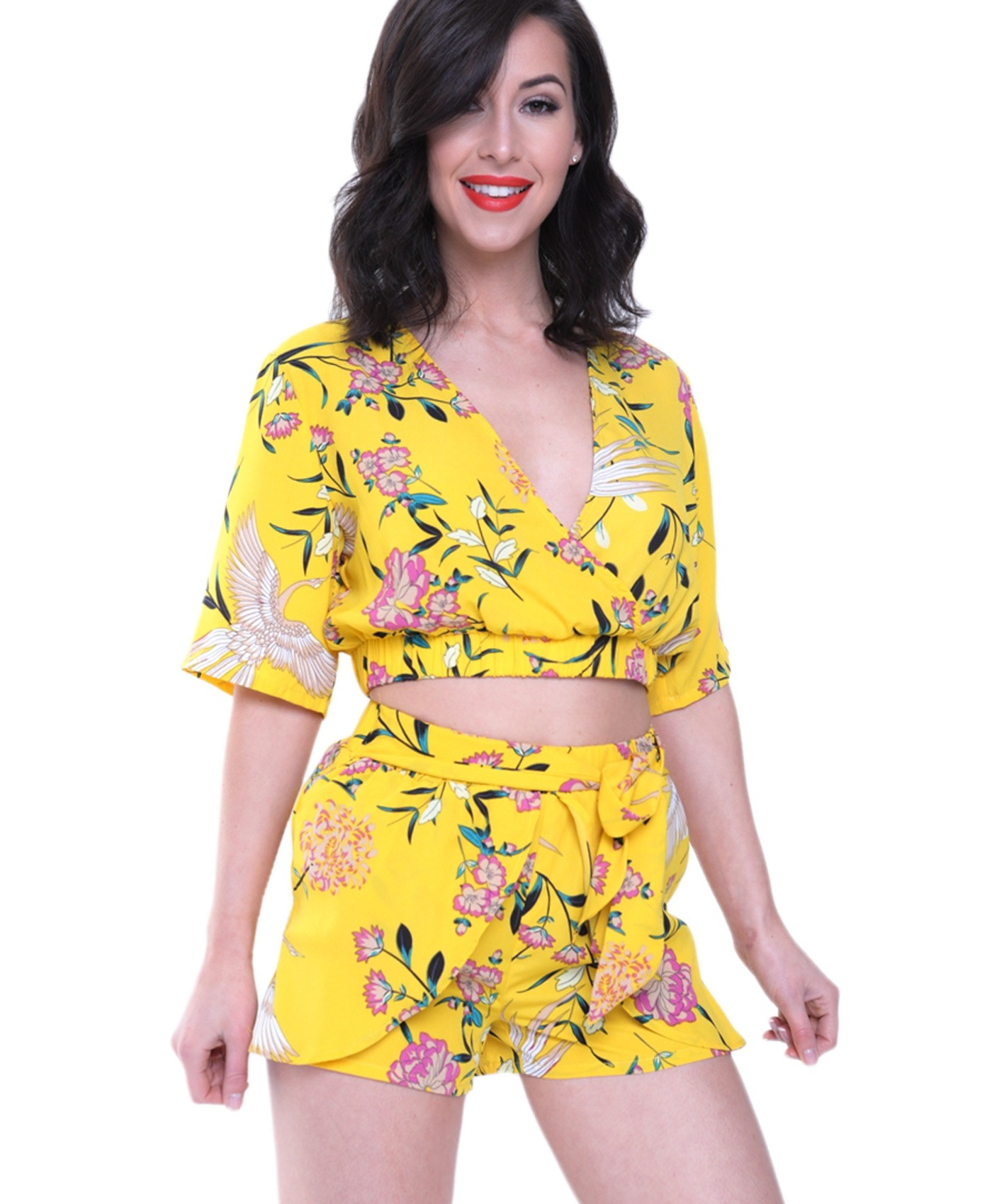 Yellow-Floral-Plunge-Crop-Top-Top-And-Beltend-Short-Co-Ord-Set-2