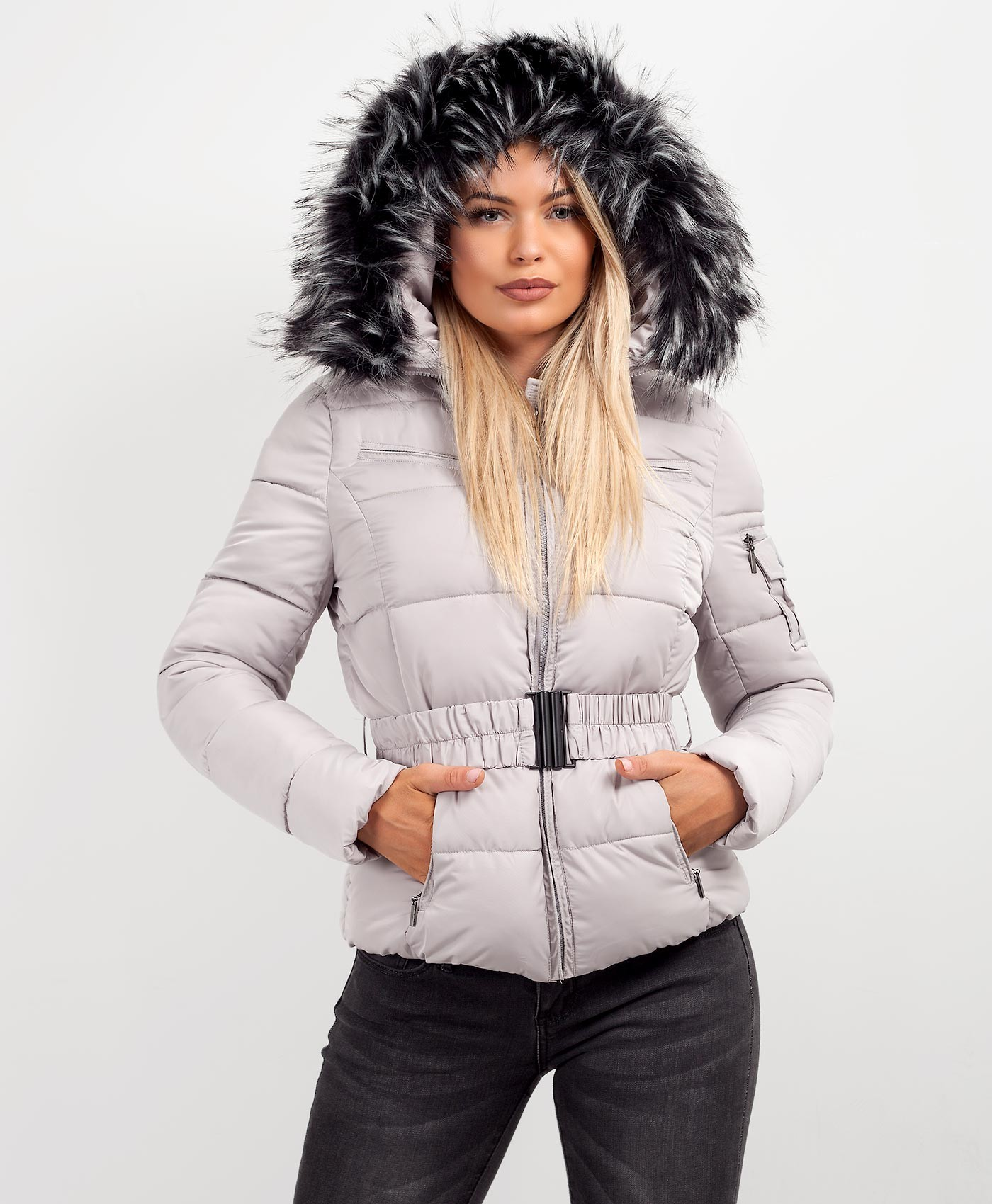 Grey-Quilted-Padded-Belted-Chunky-Faux-Fur-Hooded-Puffer-Jacket-1