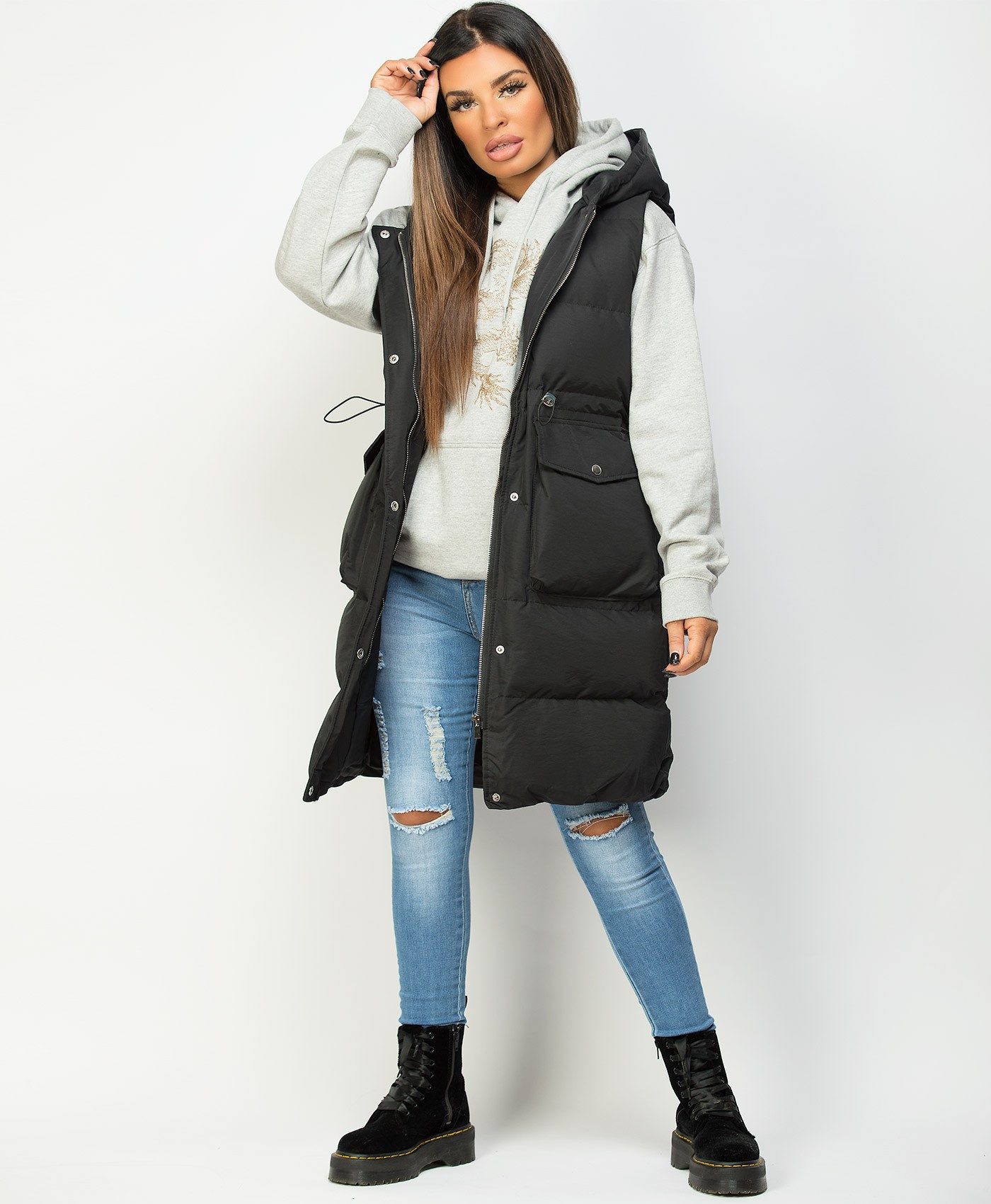 Black-Long-Drawstring-Waist-Hooded-Bodywarmer-Gilet-1