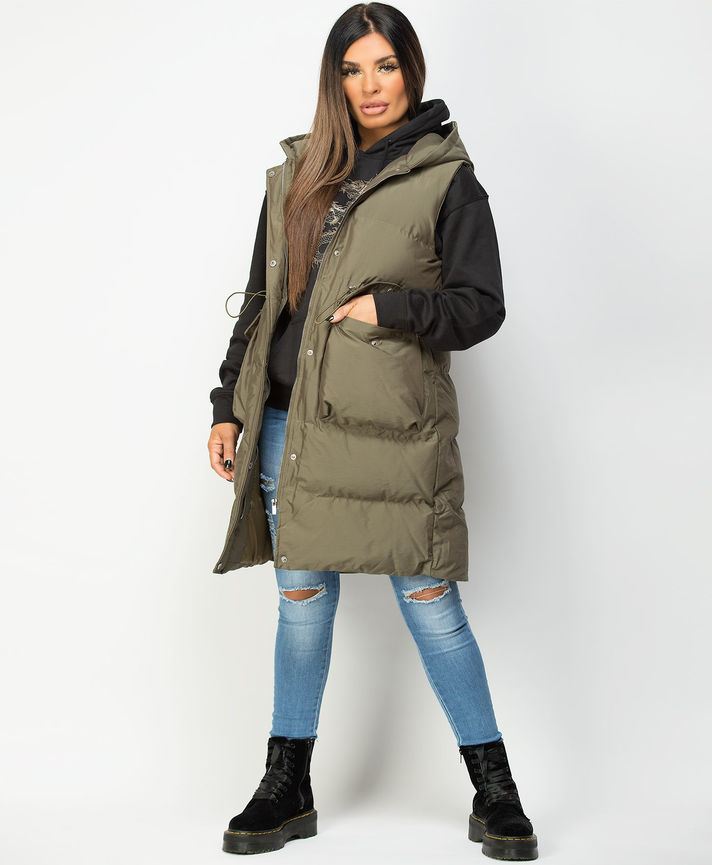 Khaki-Long-Drawstring-Waist-Hooded-Bodywarmer-Gilet-5