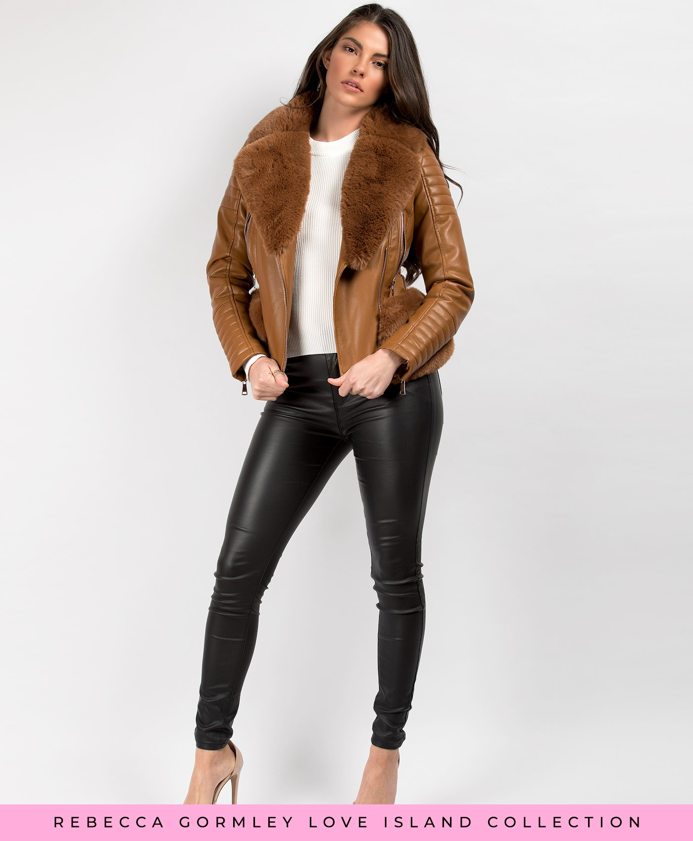 Tan-Faux-Fur-Trimmed-PU-PVC-Belted-Biker-Jacket-3