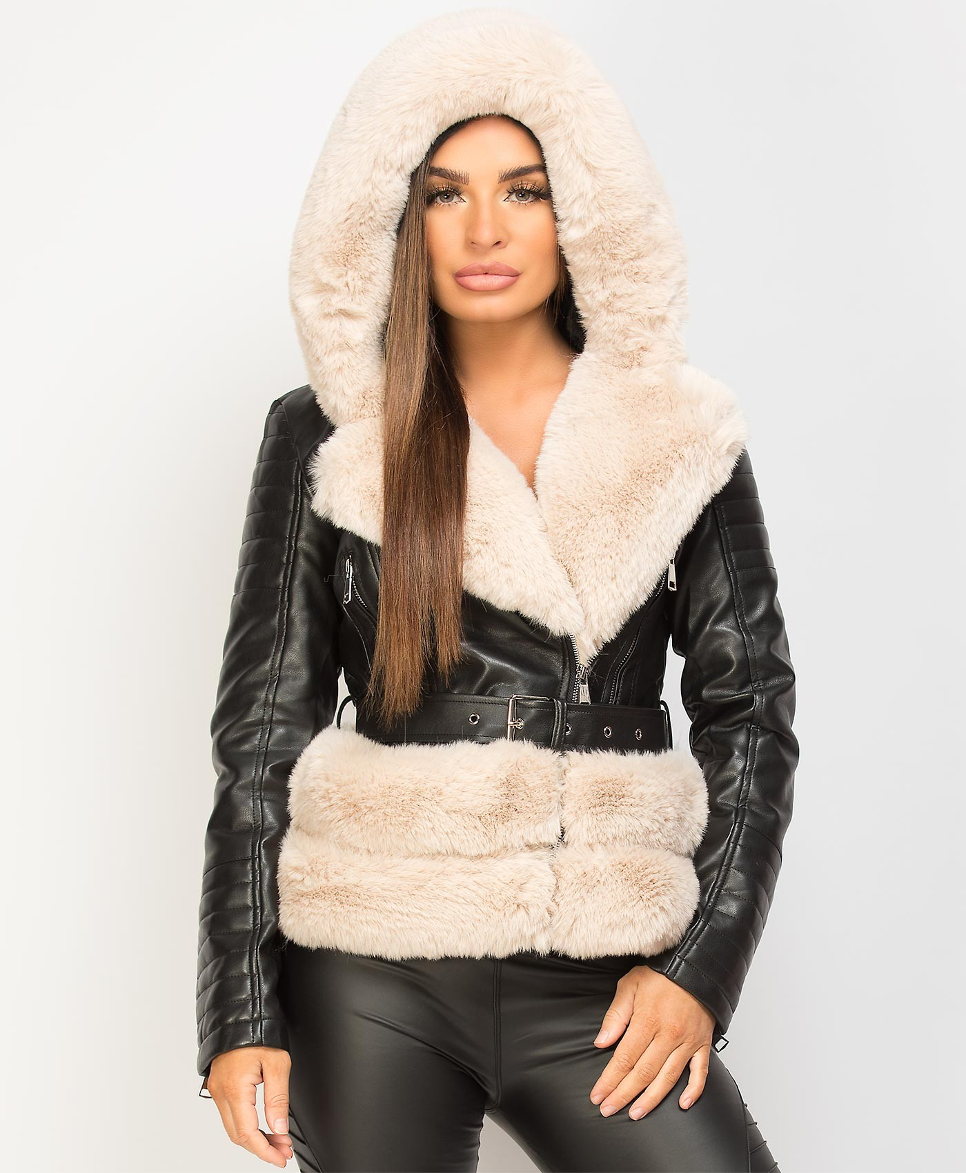 Black-Beige-PU-PVC-Faux-Fur-Hooded-Belted-Biker-Jacket-1