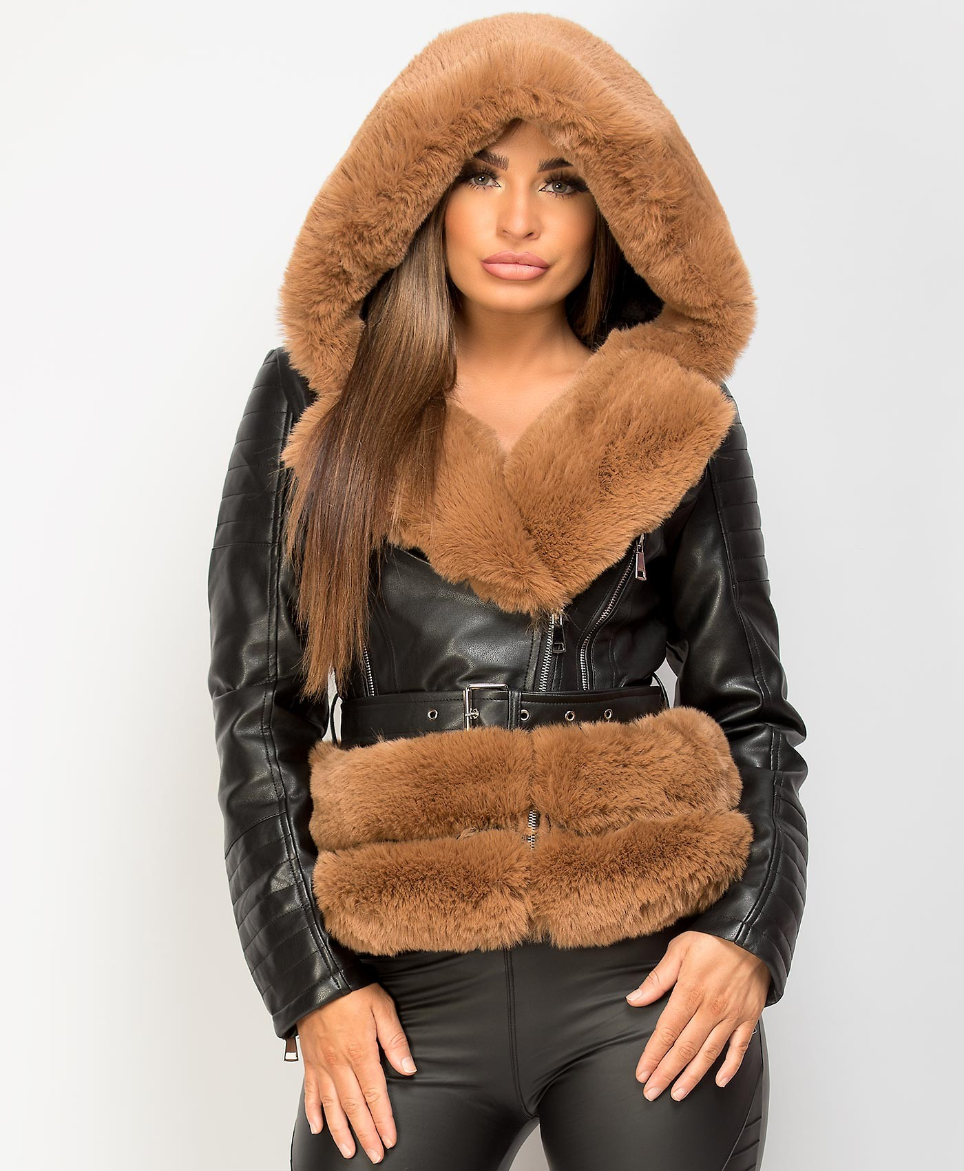 Black-Camel-PU-PVC-Faux-Fur-Hooded-Belted-Biker-Jacket-1