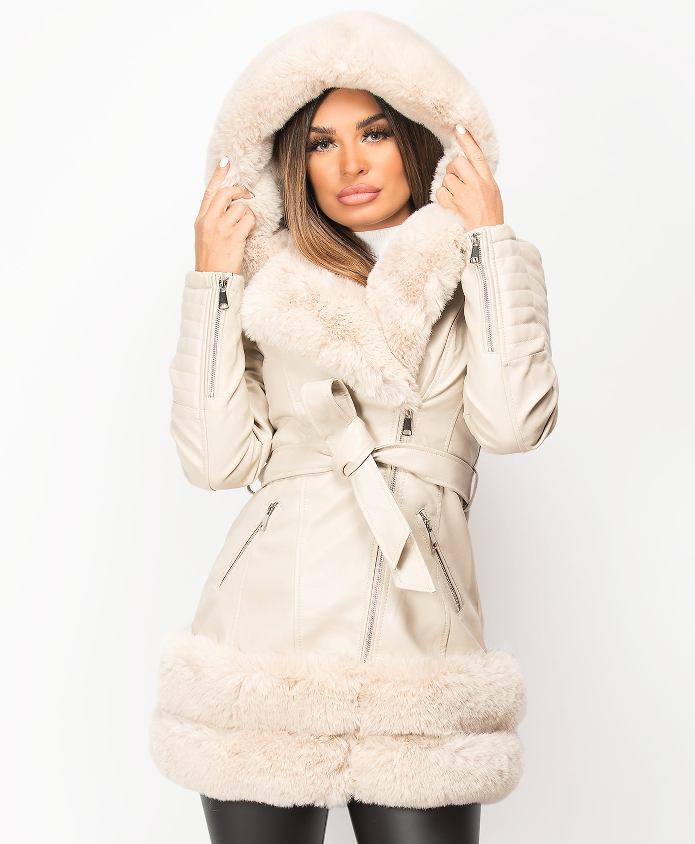 Beige-3-4-PU-PVC-Faux-Fur-Hem-Belted-Hooded-Jacket-1