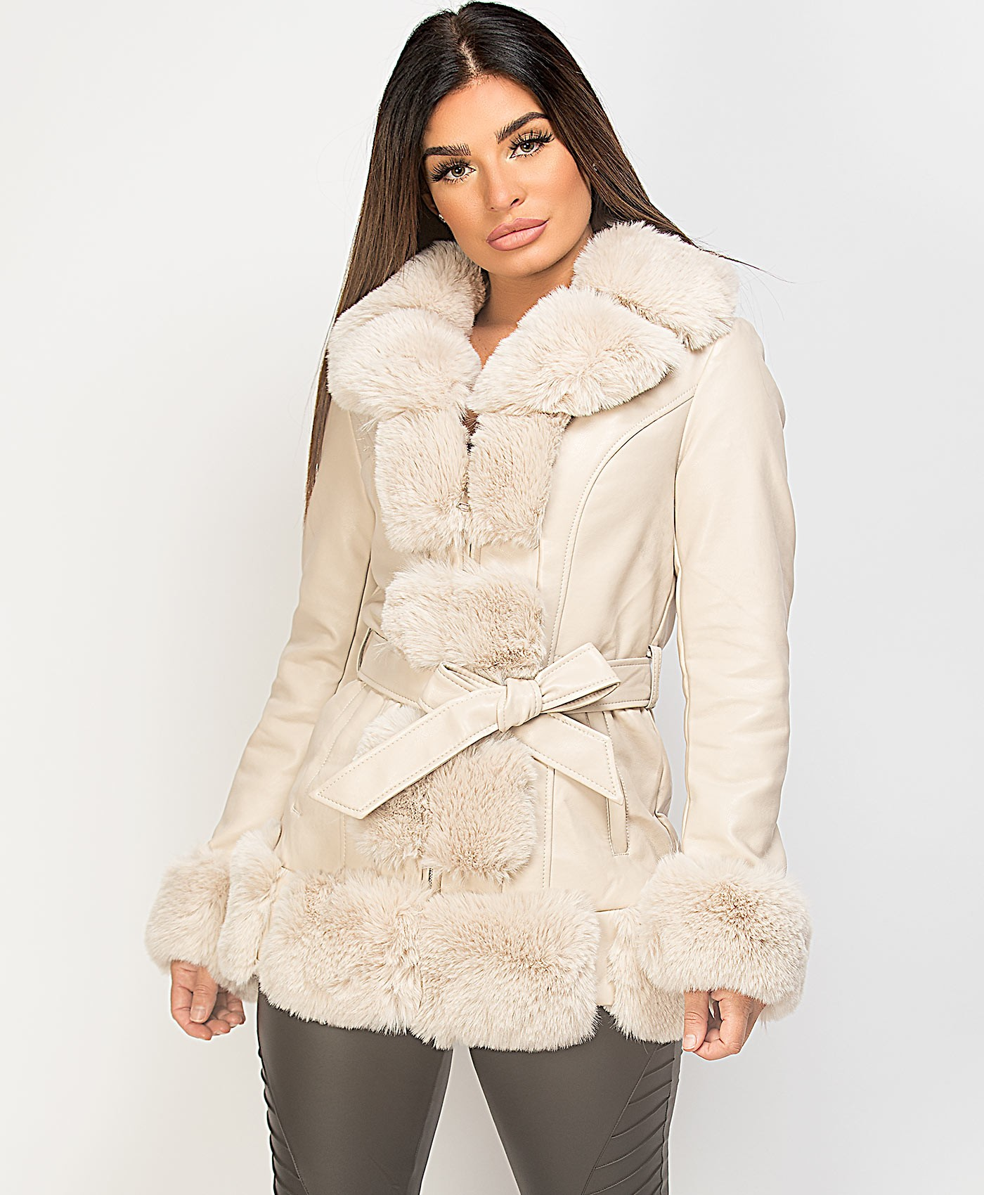 Beige-PU-PVC-Tiered-Faux-Front-3-4-Long-Jacket-Coat-1