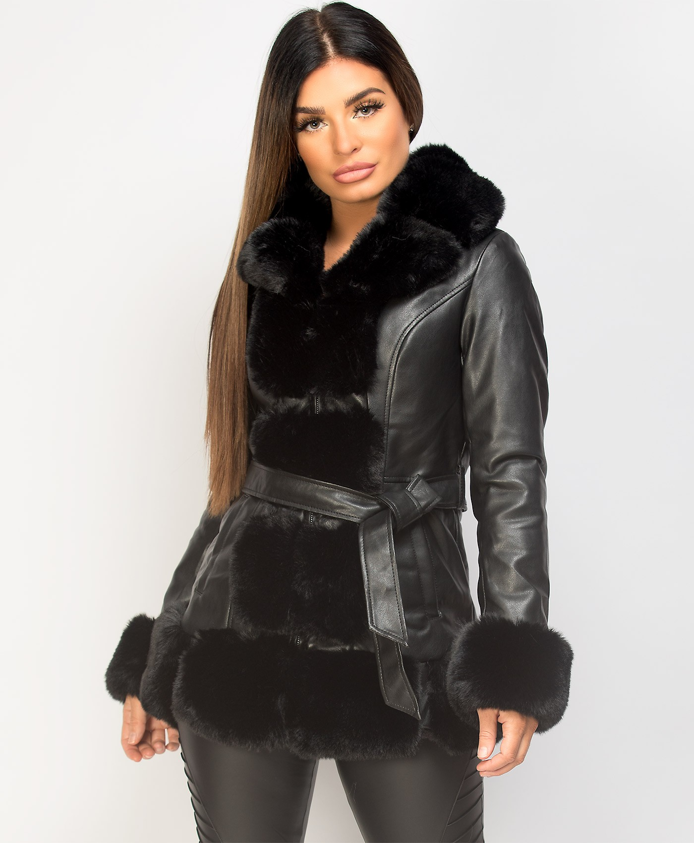 Black-PU-PVC-Tiered-Faux-Front-3-4-Long-Jacket-Coat-1