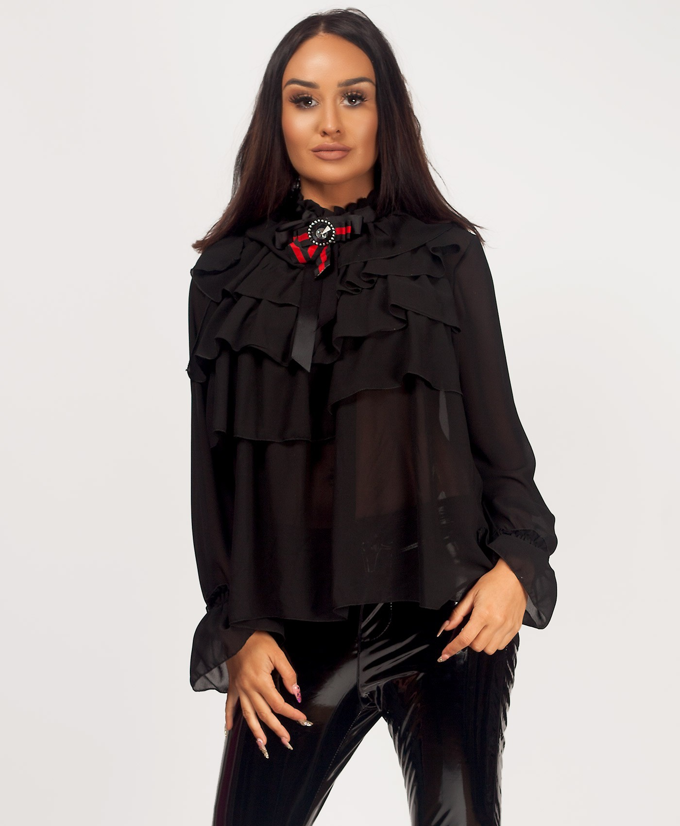 Red-Green-Gucci-Style-Bow-Ruffle-Frill-Blouse-Black-1