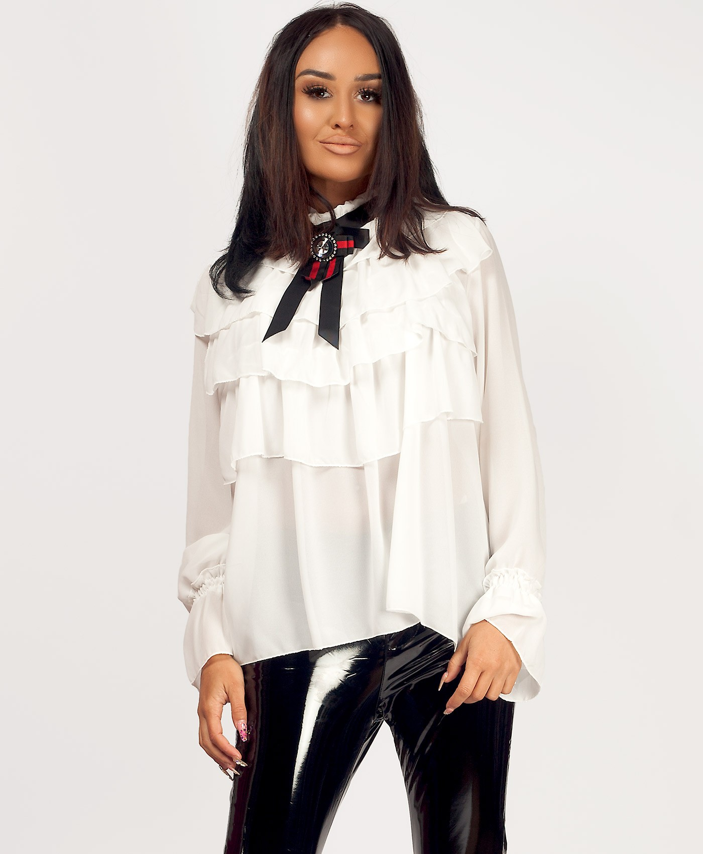 Red-Green-Gucci-Style-Bow-Ruffle-Frill-Blouse-White-1