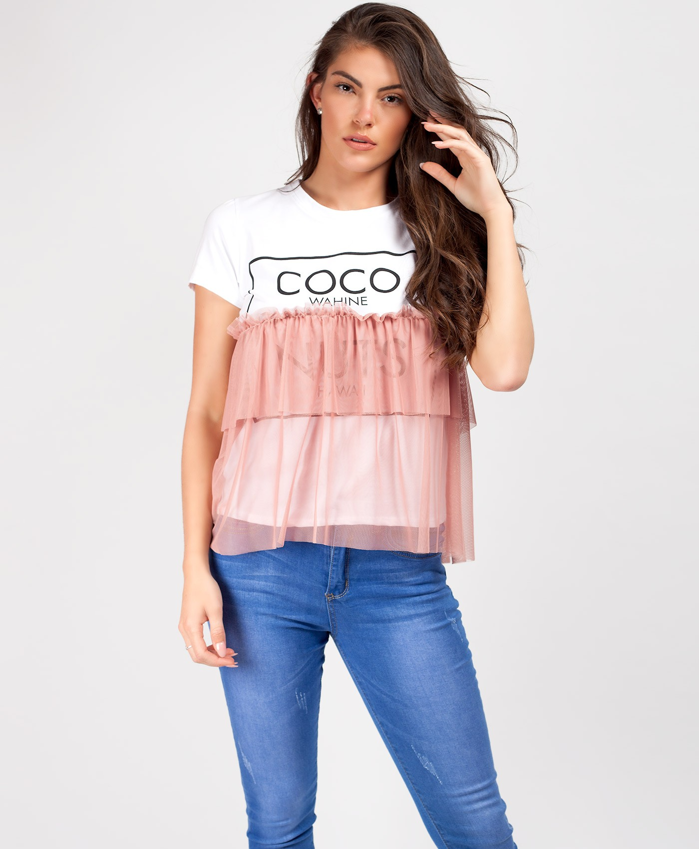 Pink Coco Nuts Tulle Layered Slogan T-Shirt